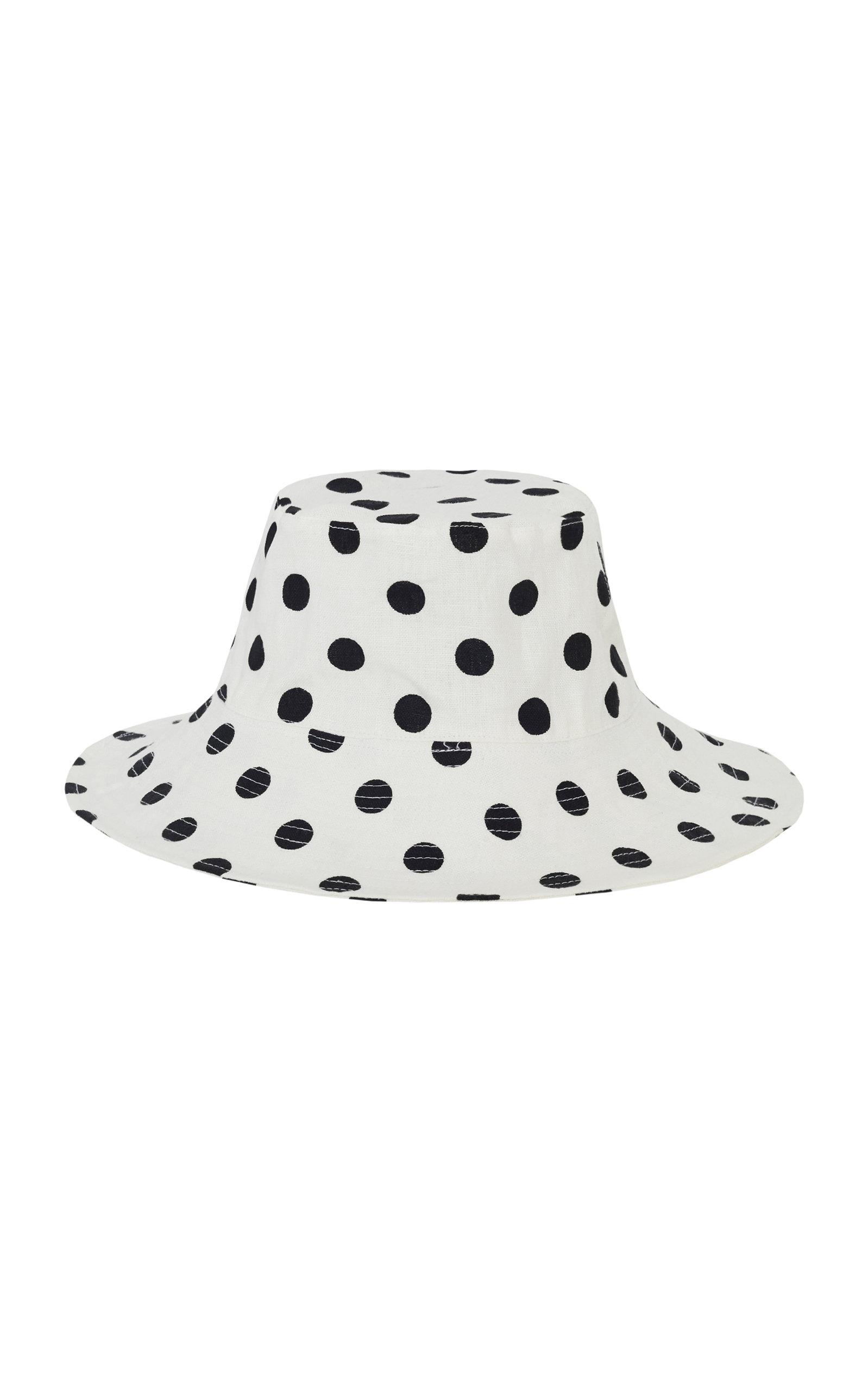 Faithfull The Brand BETTINA POLKA-DOT PRINT LINEN BUCKET HAT