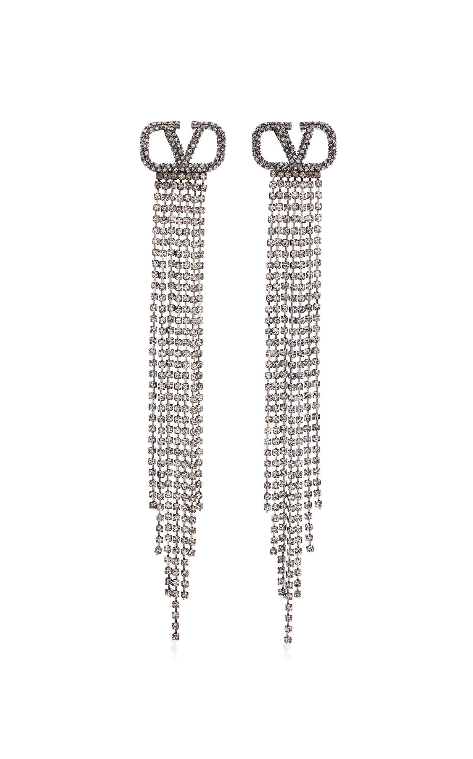 Valentino GARAVANI SILVER-TONE AND CRYSTAL EARRINGS
