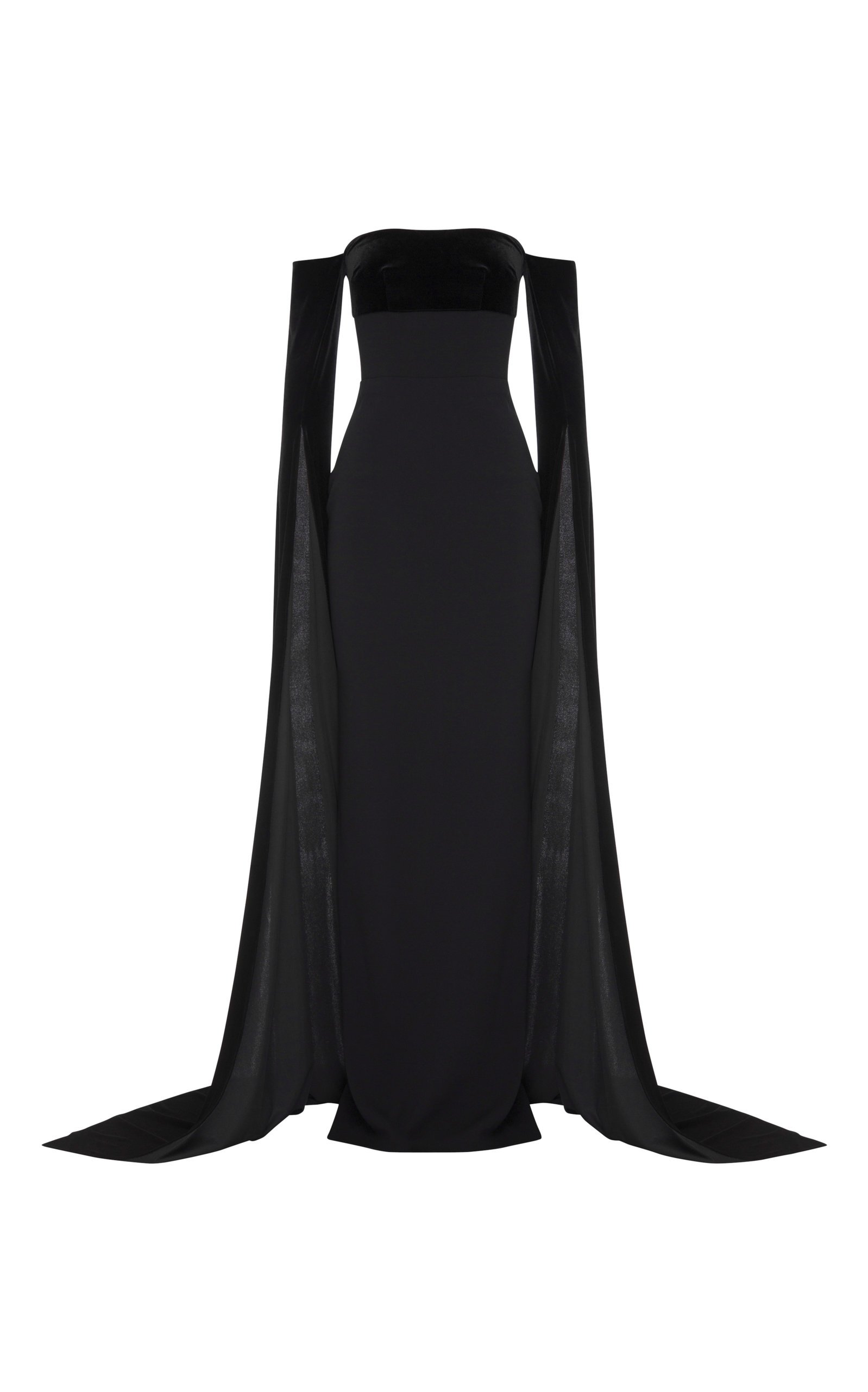 Alex Perry HARLAND VELVET-DETAILED CREPE STRAPLESS GOWN
