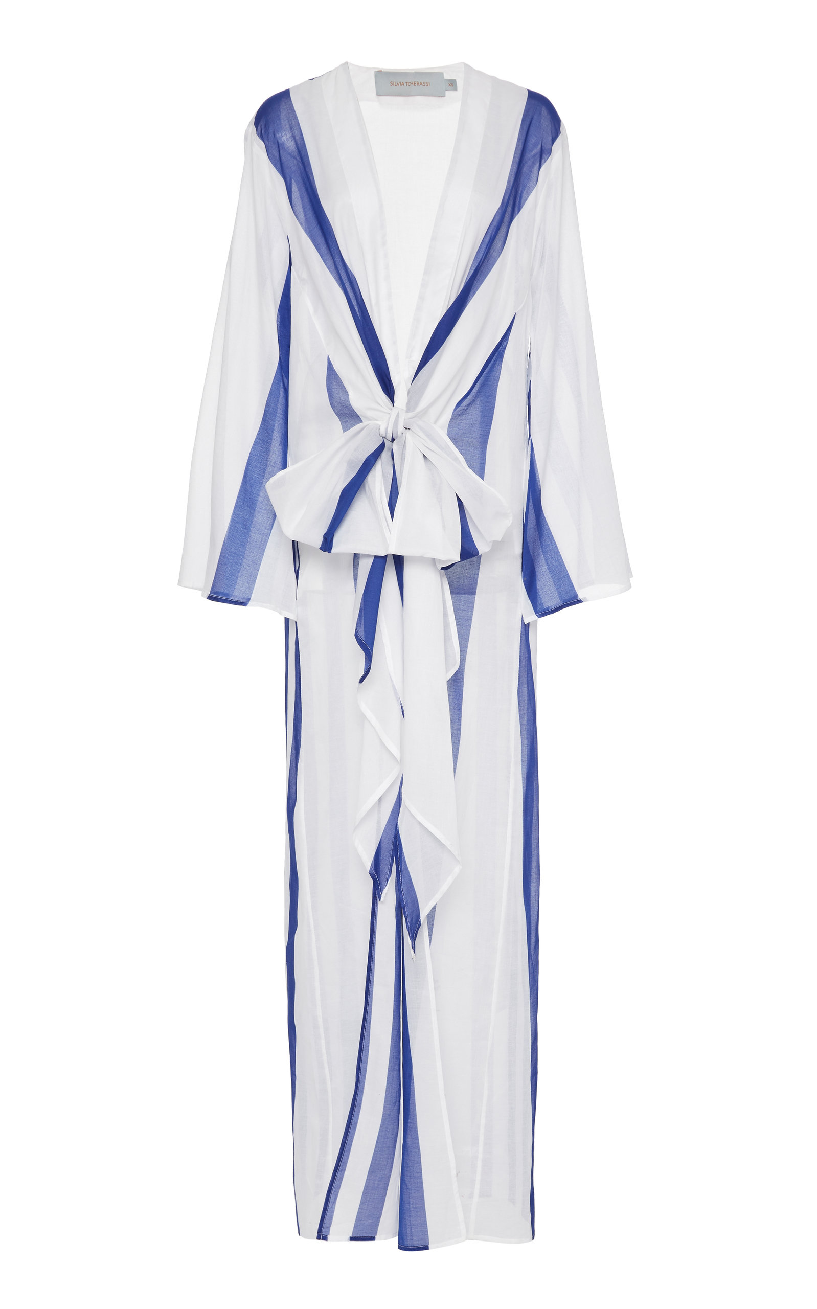 Silvia Tcherassi CALITRI STRIPED SHEER COTTON ROBE