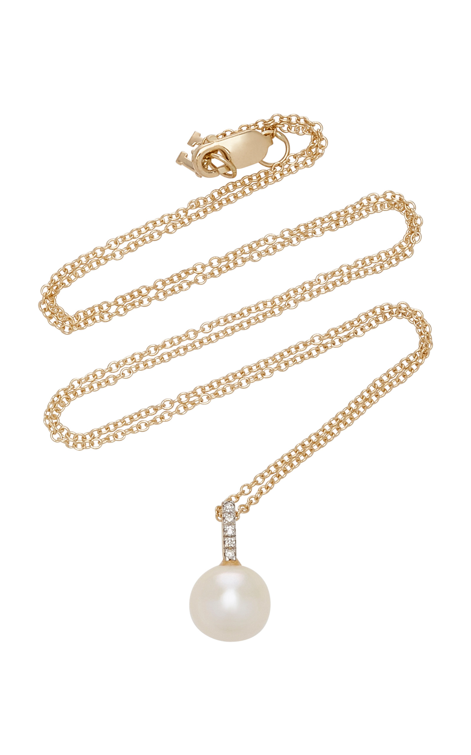 Mateo 14K GOLD, SIMPLE PEARL & DIAMOND PENDANT NECKLACE