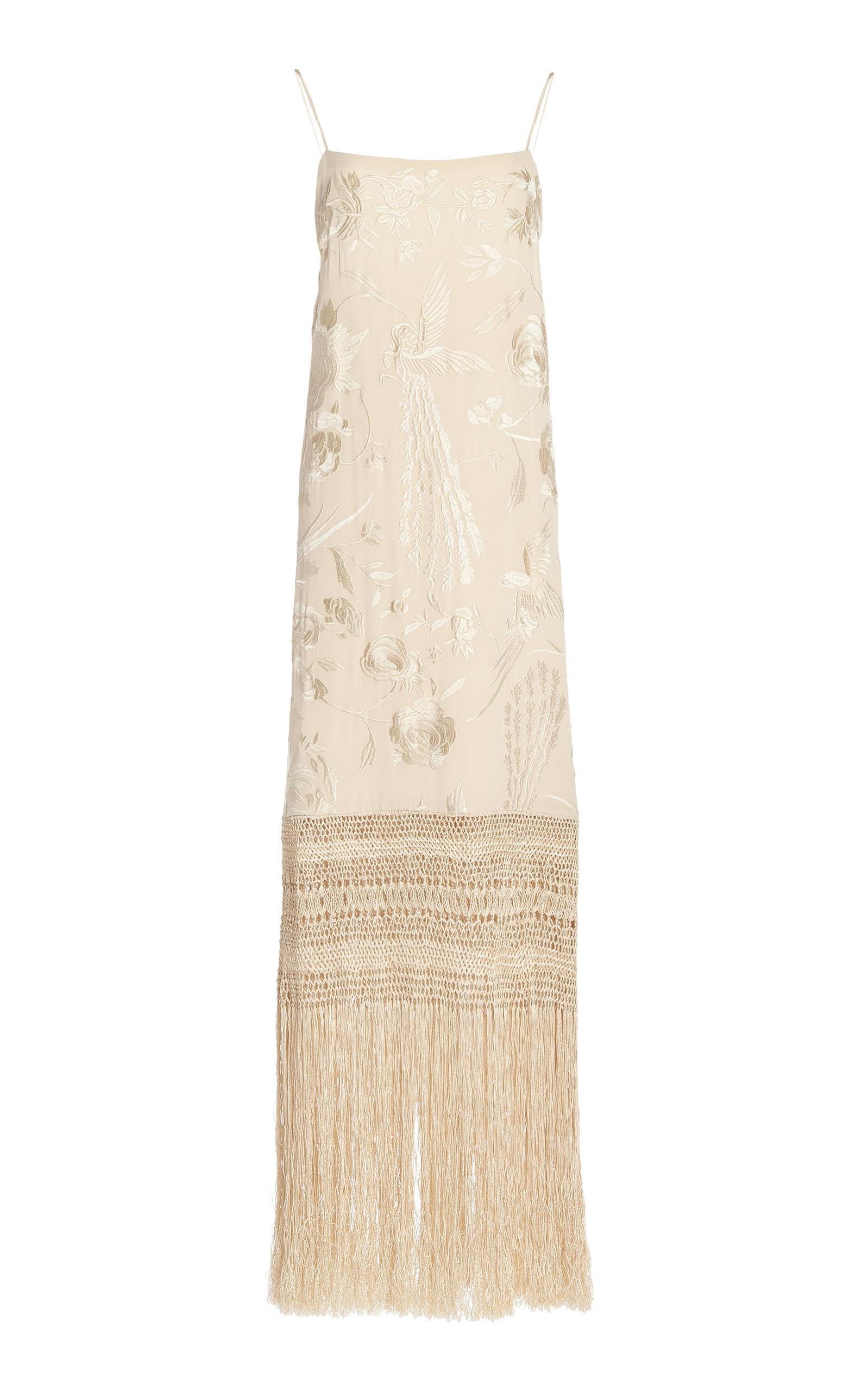 Johanna Ortiz PALM GOLD EMBROIDERED SILK DRESS