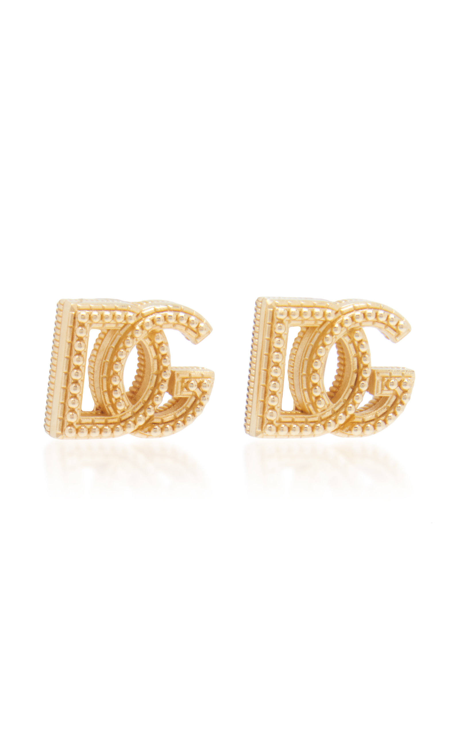 Dolce & Gabbana COUNTRY LOGO GOLD-TONE BRASS CLIP-ON EARRINGS