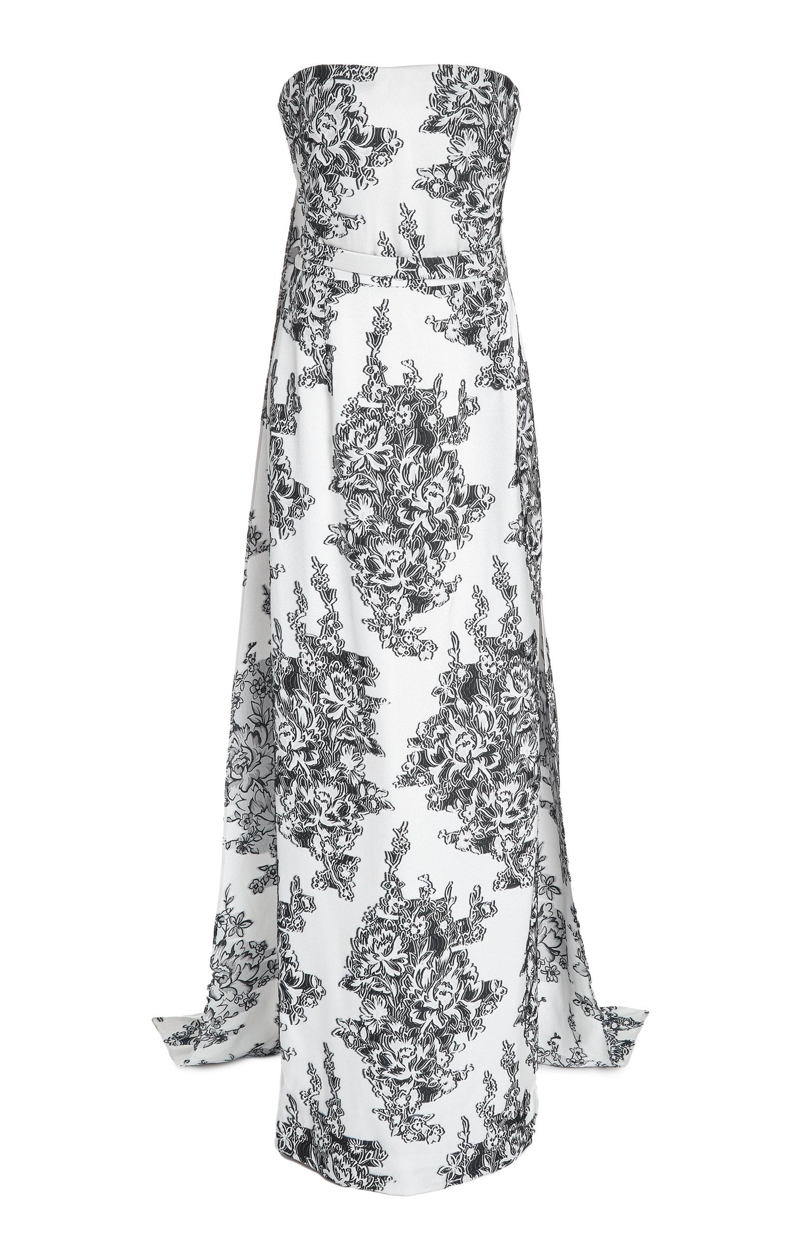 Buy Oscar de la Renta Floral Fil Coupé Crepe Strapless Column Gown online, shop Oscar de la Renta at the best price