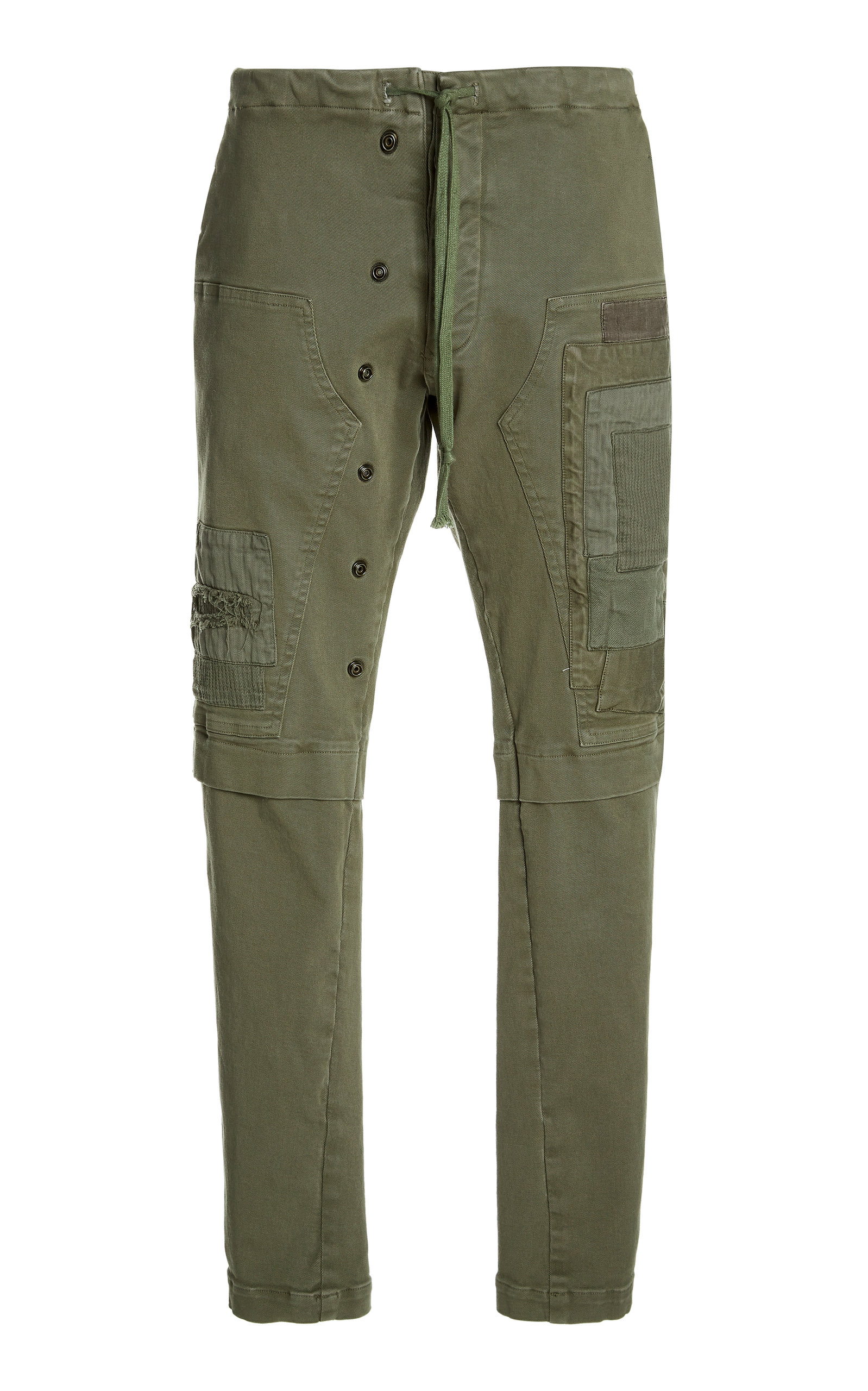 Greg Lauren Patchwork Stretch Denim Workpants In Green