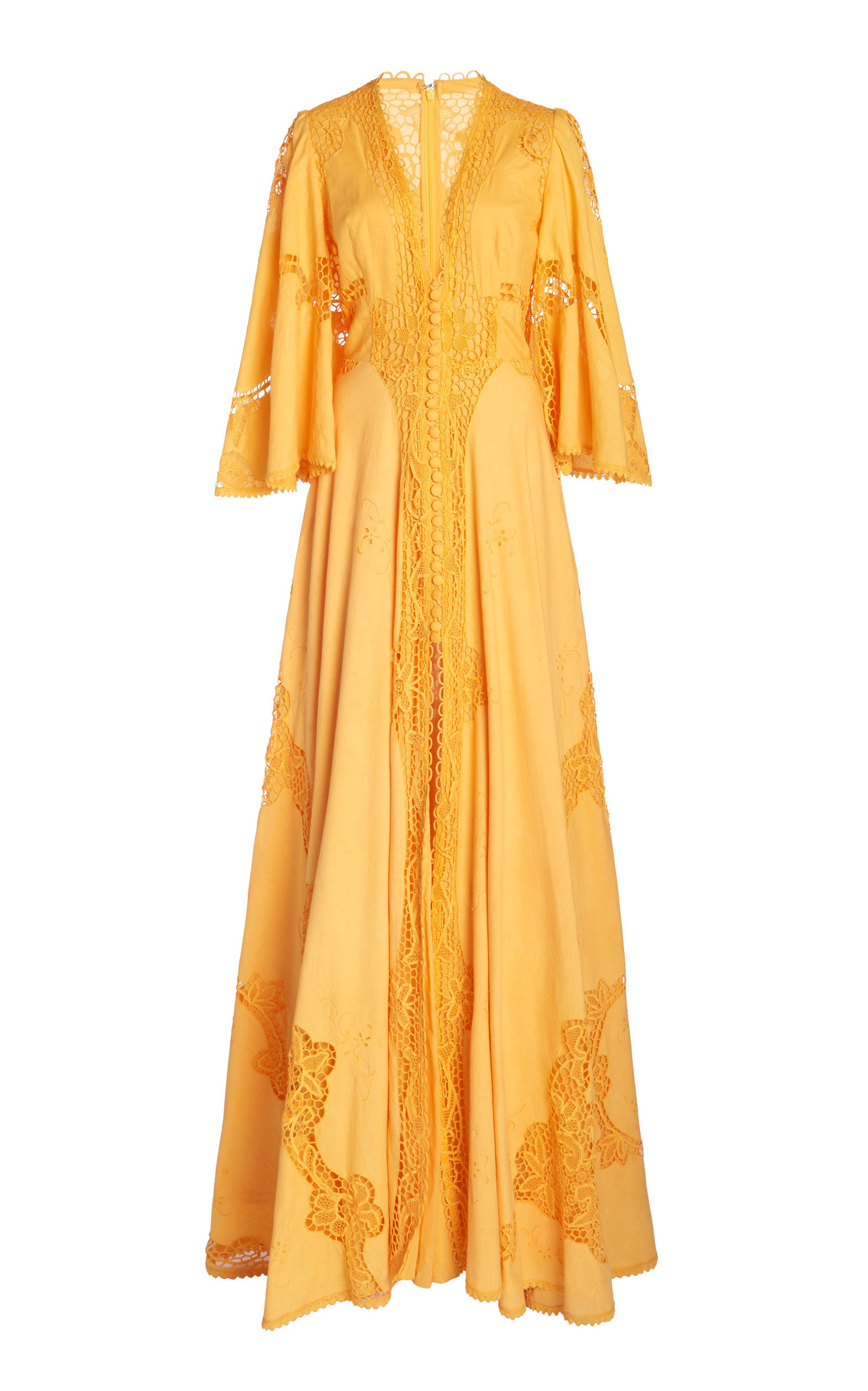 Costarellos BESSA BELTED LACE-DETAILED LINEN-COTTON GOWN