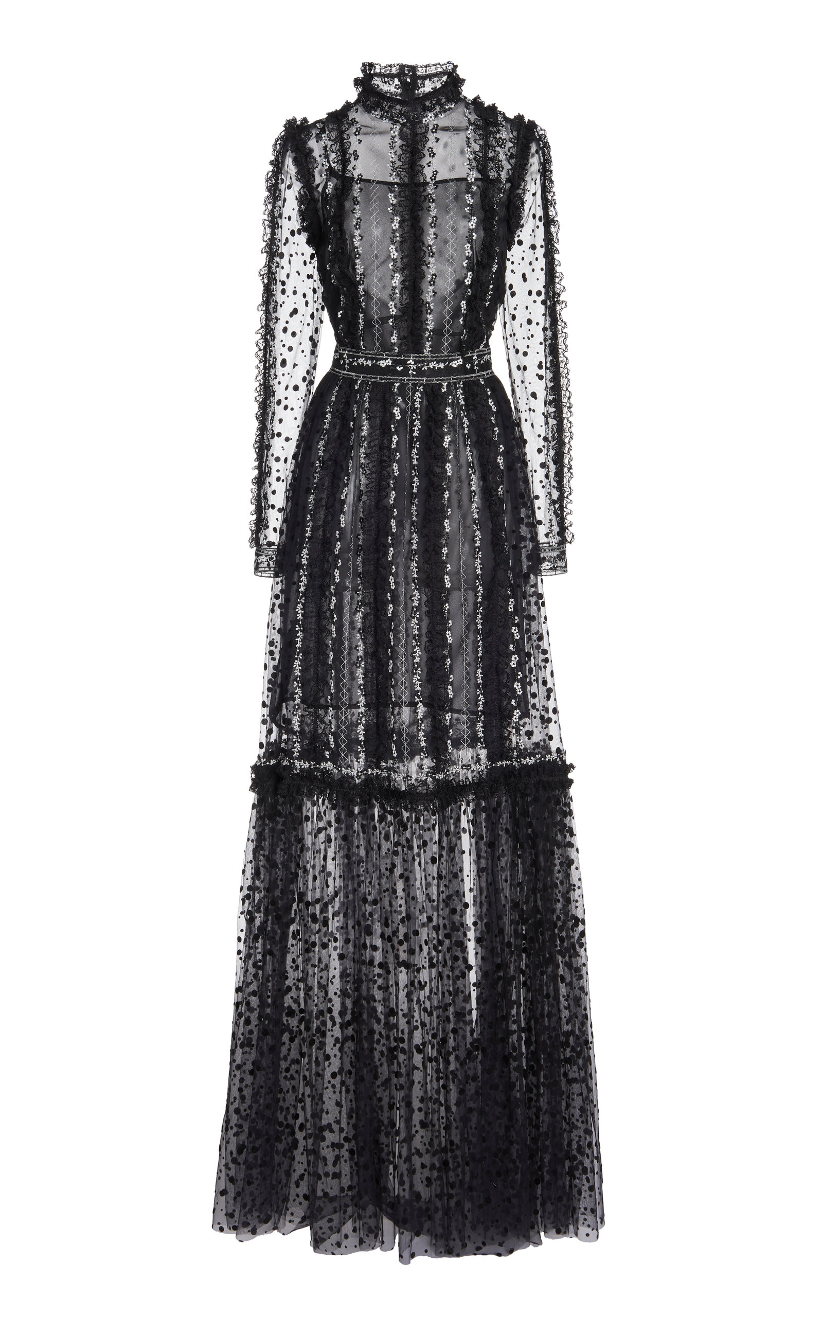 Costarellos ANICE FLORAL-EMBROIDERED DOTTED-TULLE GOWN