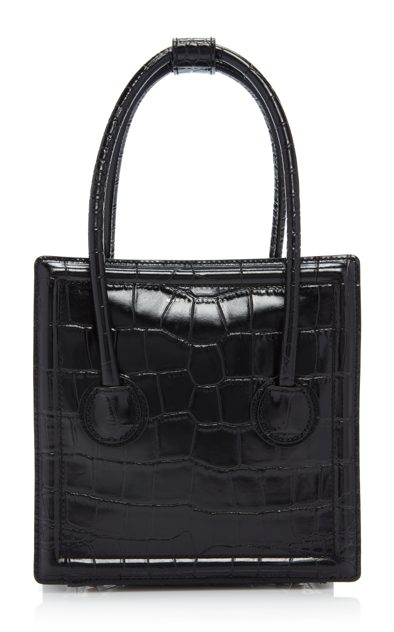 Marge Sherwood BOSTON S CROC-EFFECT LEATHER TOP HANDLE BAG