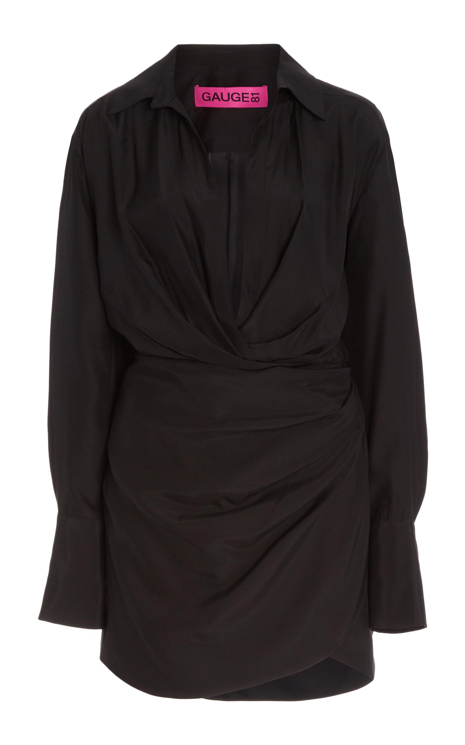 Gauge81 NAHA DRAPED SILK MINI SHIRT DRESS