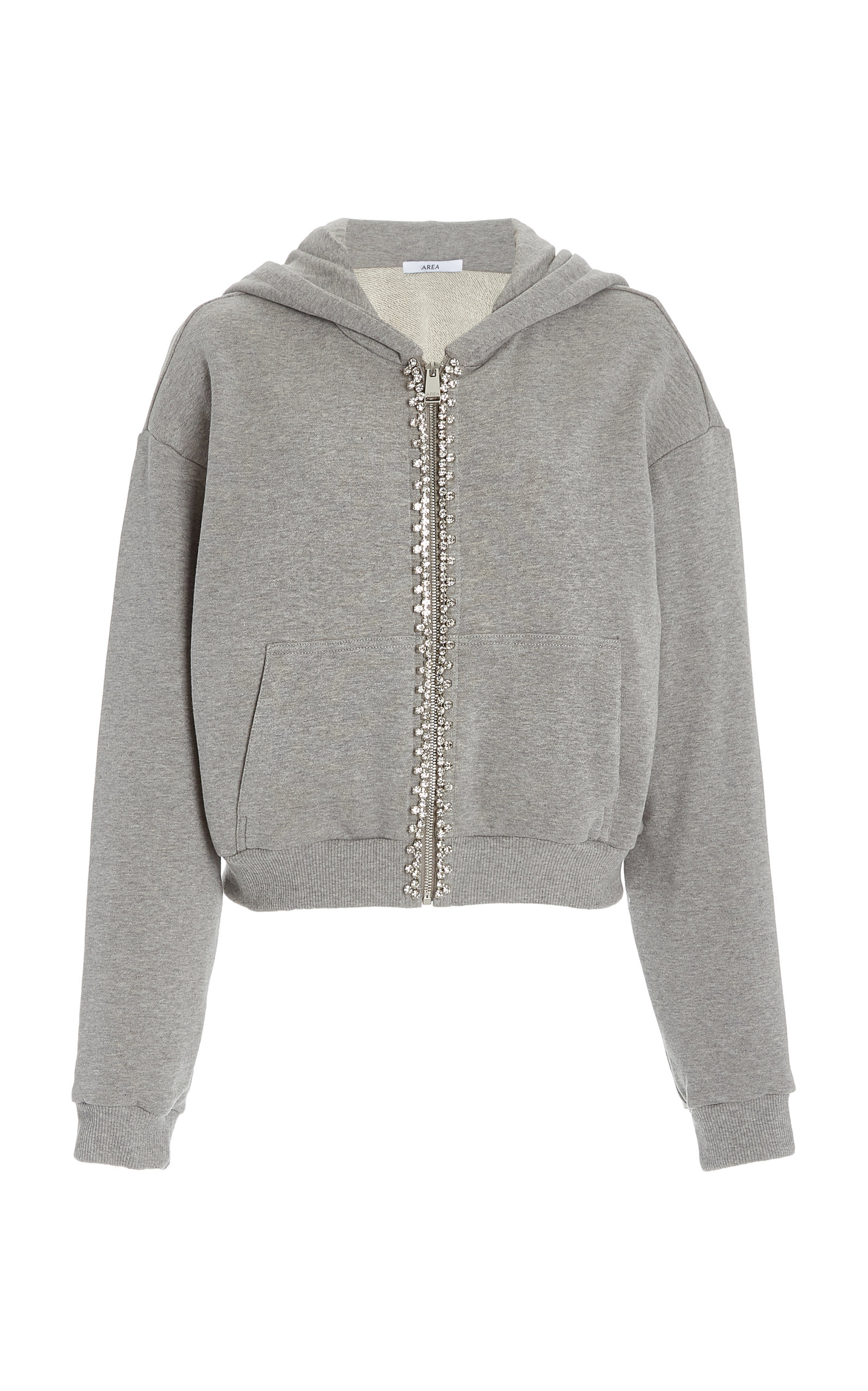 Area CRYSTAL-TRIMMED ZIP-UP COTTON HOODIE
