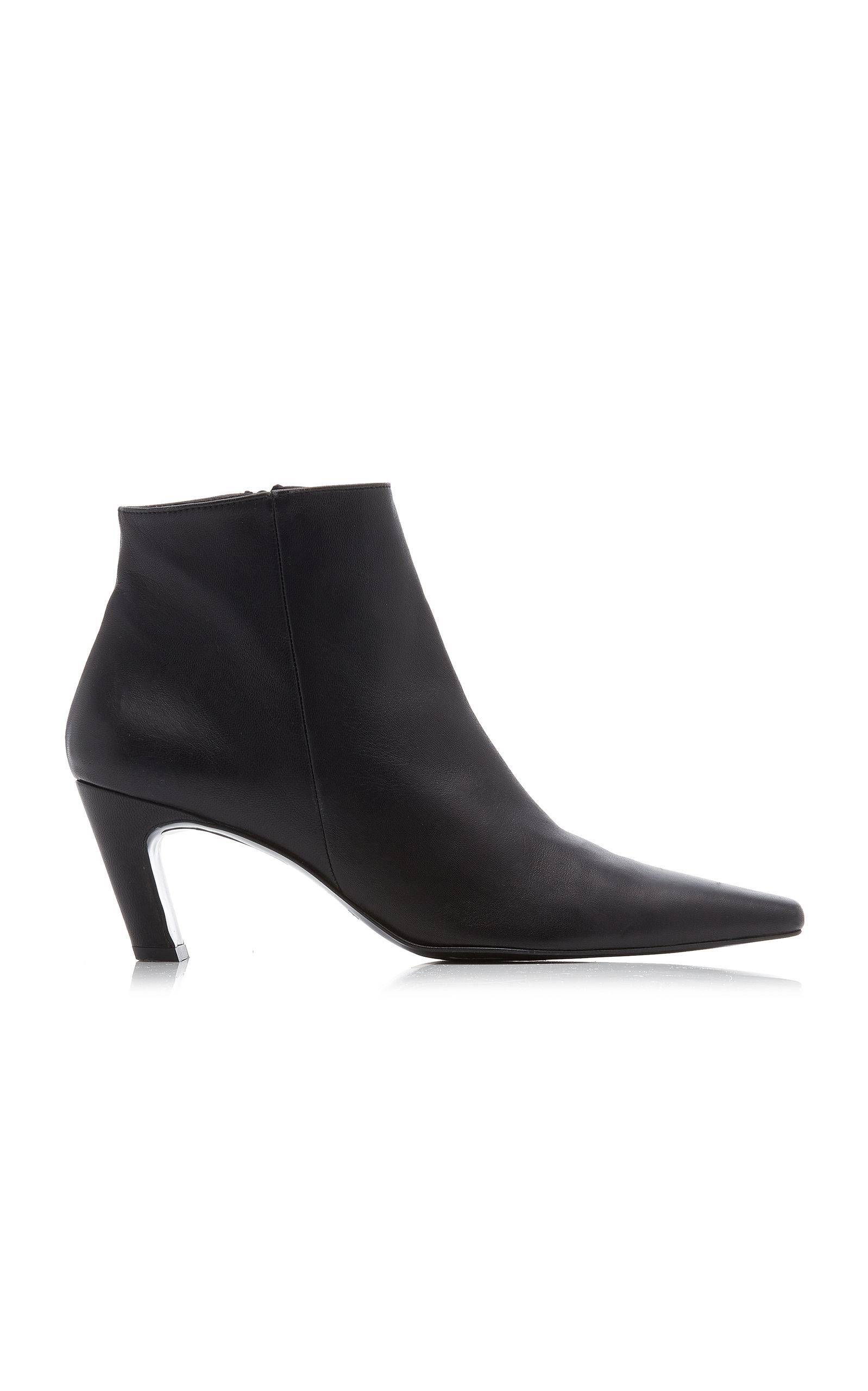 Flattered - Women's Xenia Leather Ankle Boots - Black/red - Moda Operandi