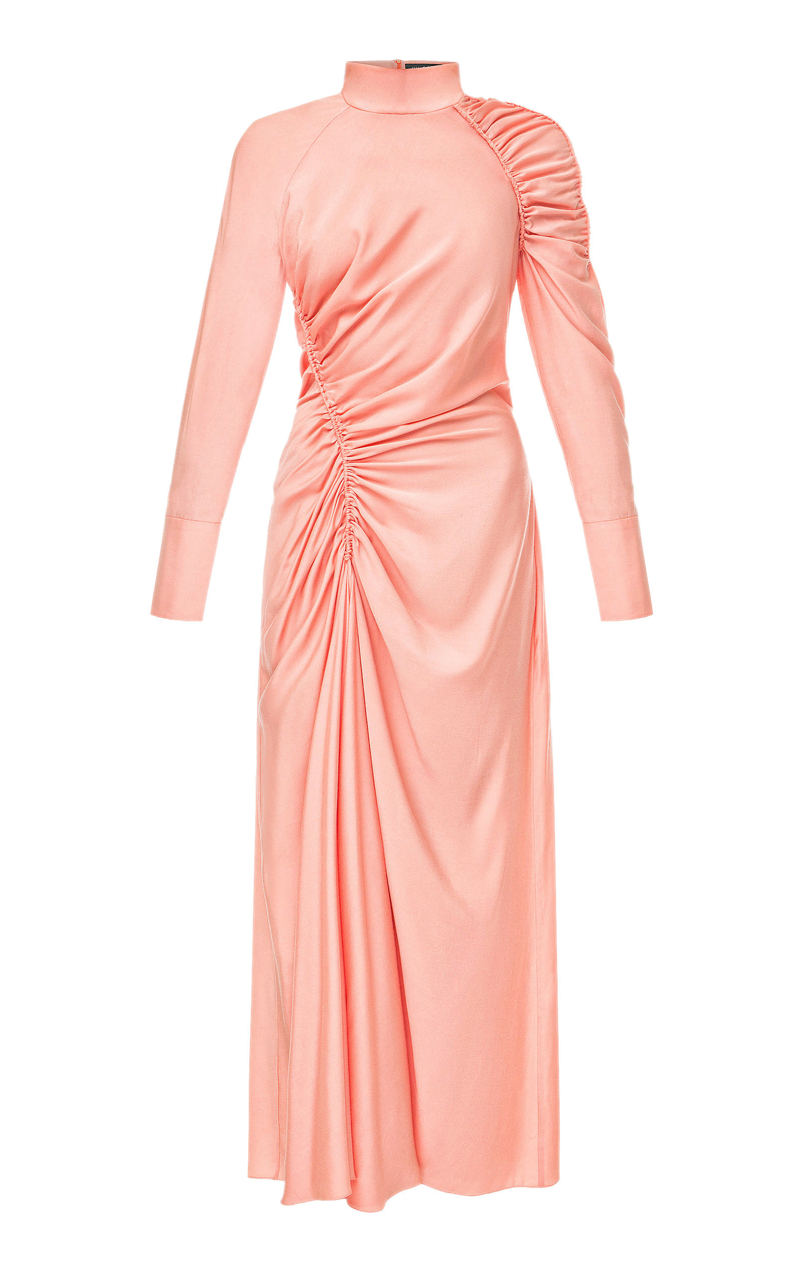 Buy Anna October Harriette Ruched Crepe de Chine Midi Dress online, shop Anna October at the best price