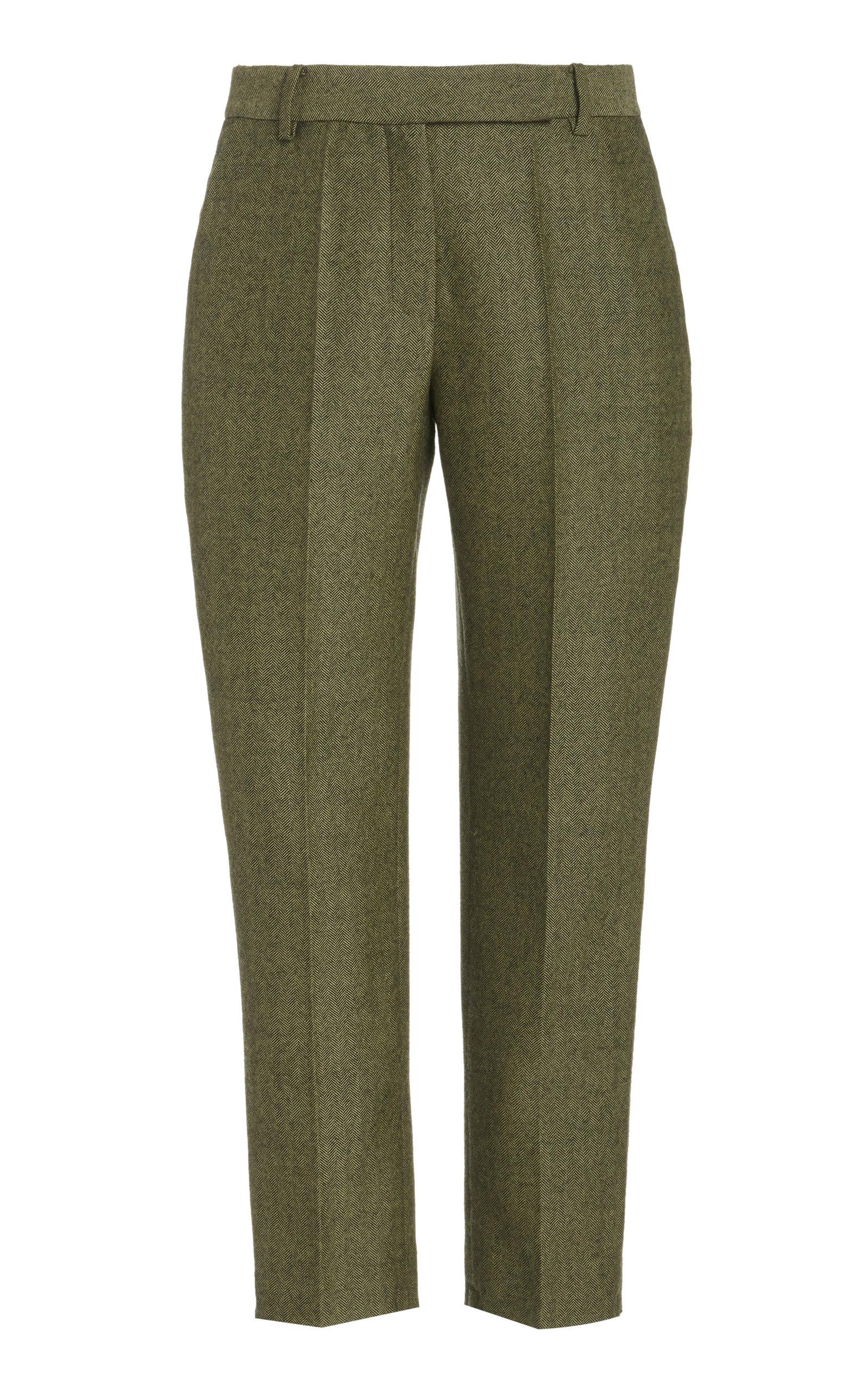 Women's Classic Straight-Leg Wool Cropped Pants