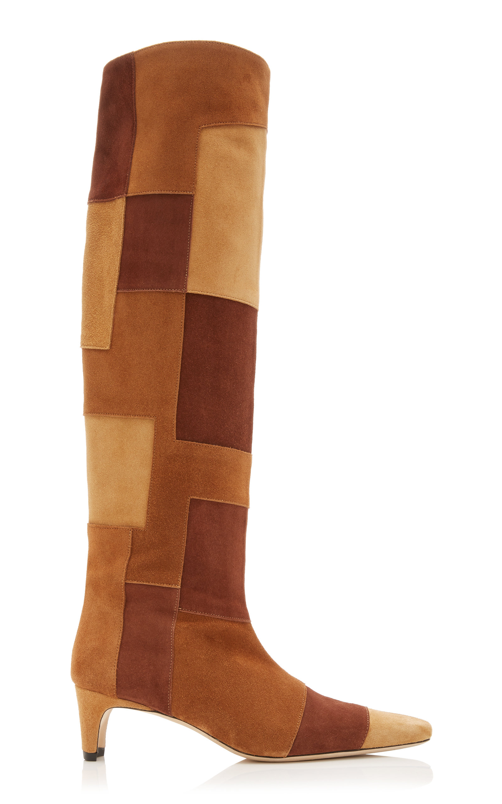 Staud WALLY PATCHWORK SUEDE KNEE-HIGH BOOTS