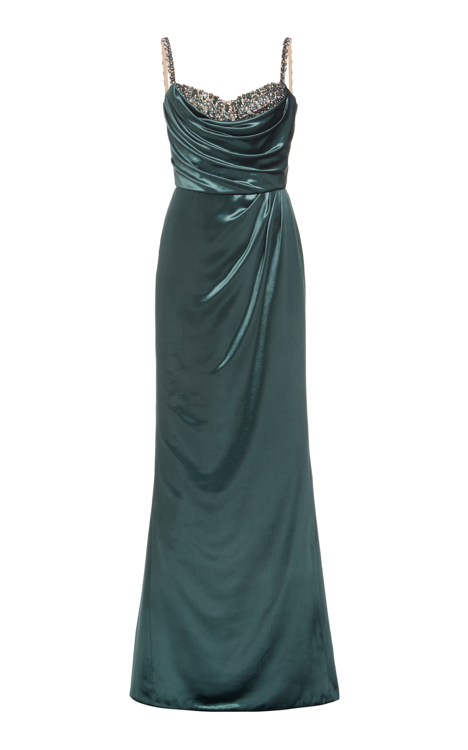 Marchesa CRYSTAL-EMBELLISHED VELVET GOWN