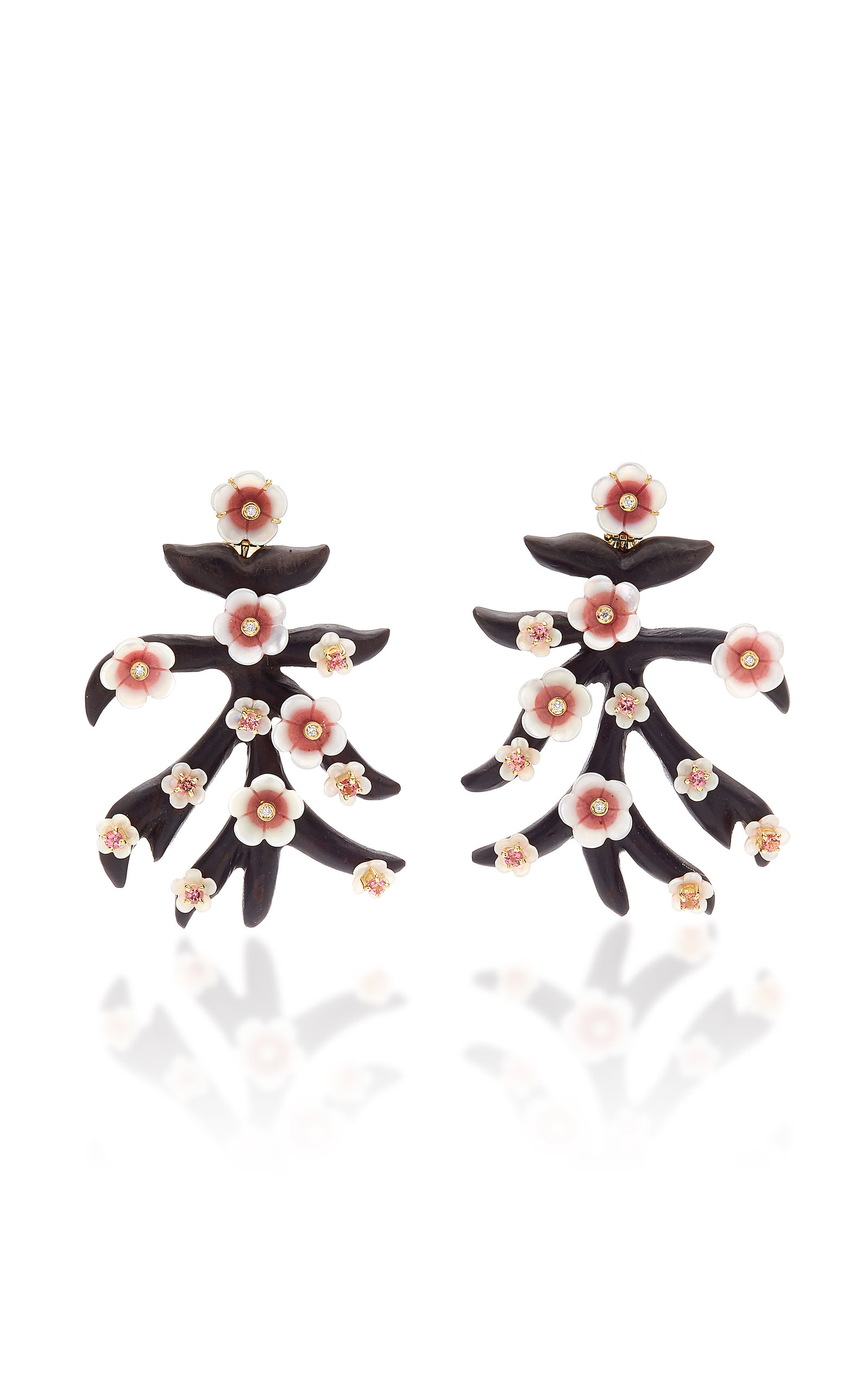 Casa Castro - Women's 18K Gold; Pink Quartzite and Ebony Branch Earrings - Gold - Moda Operandi