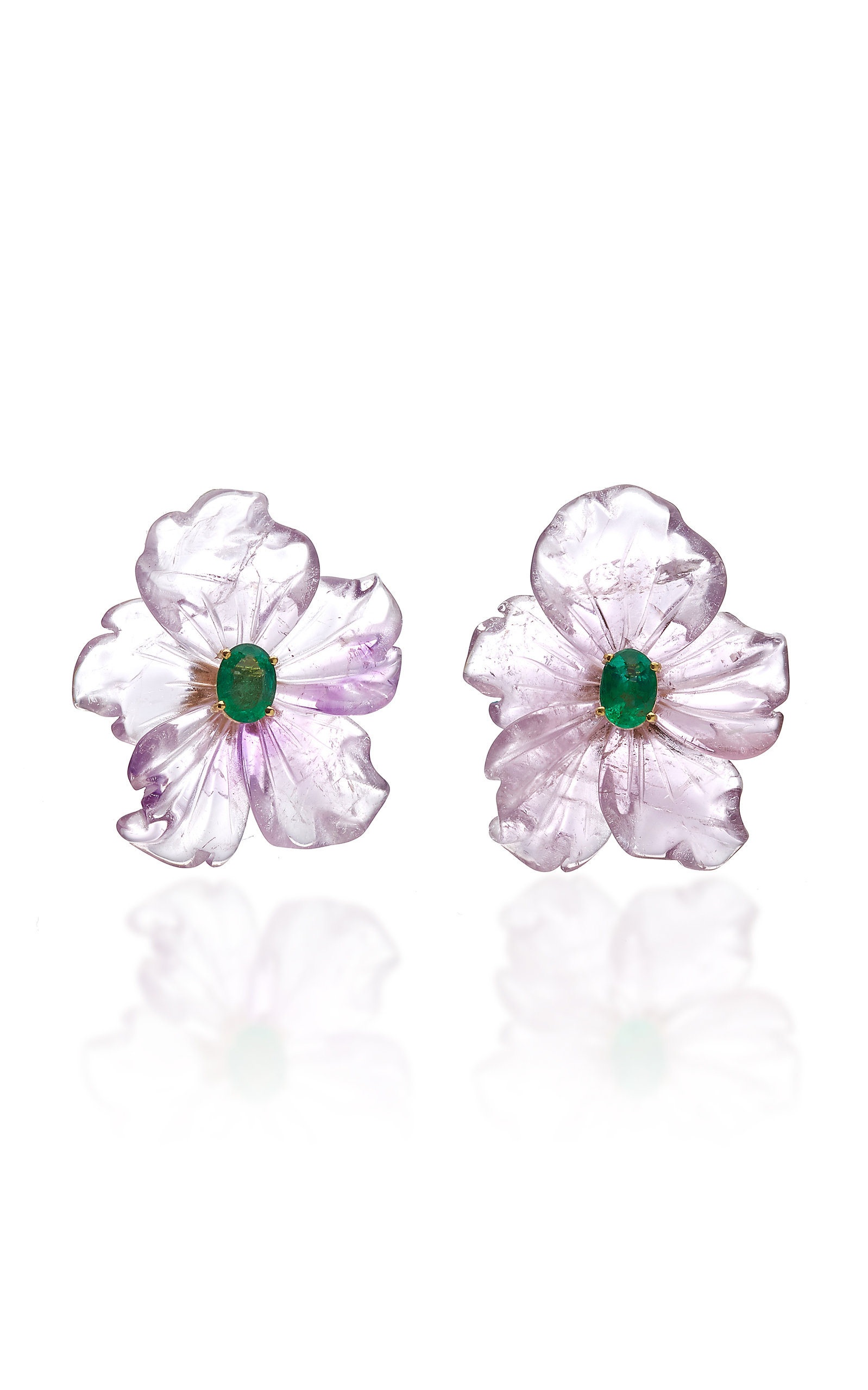 Women's 18K Gold; Amethyst and Emerald Flower Earrings