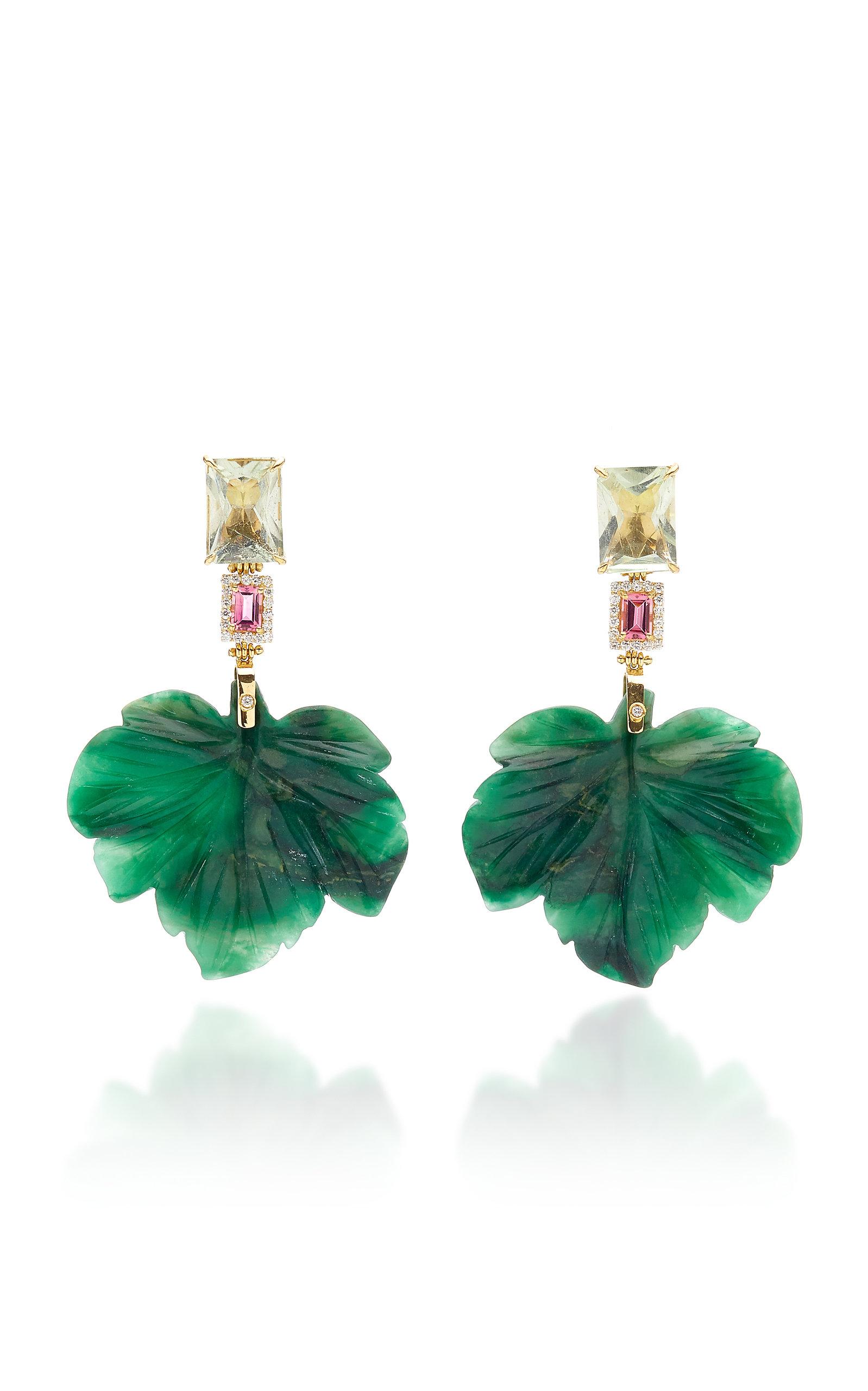 Women's 18K Gold; Diamond; and Amethyst Forest Jade Earrings