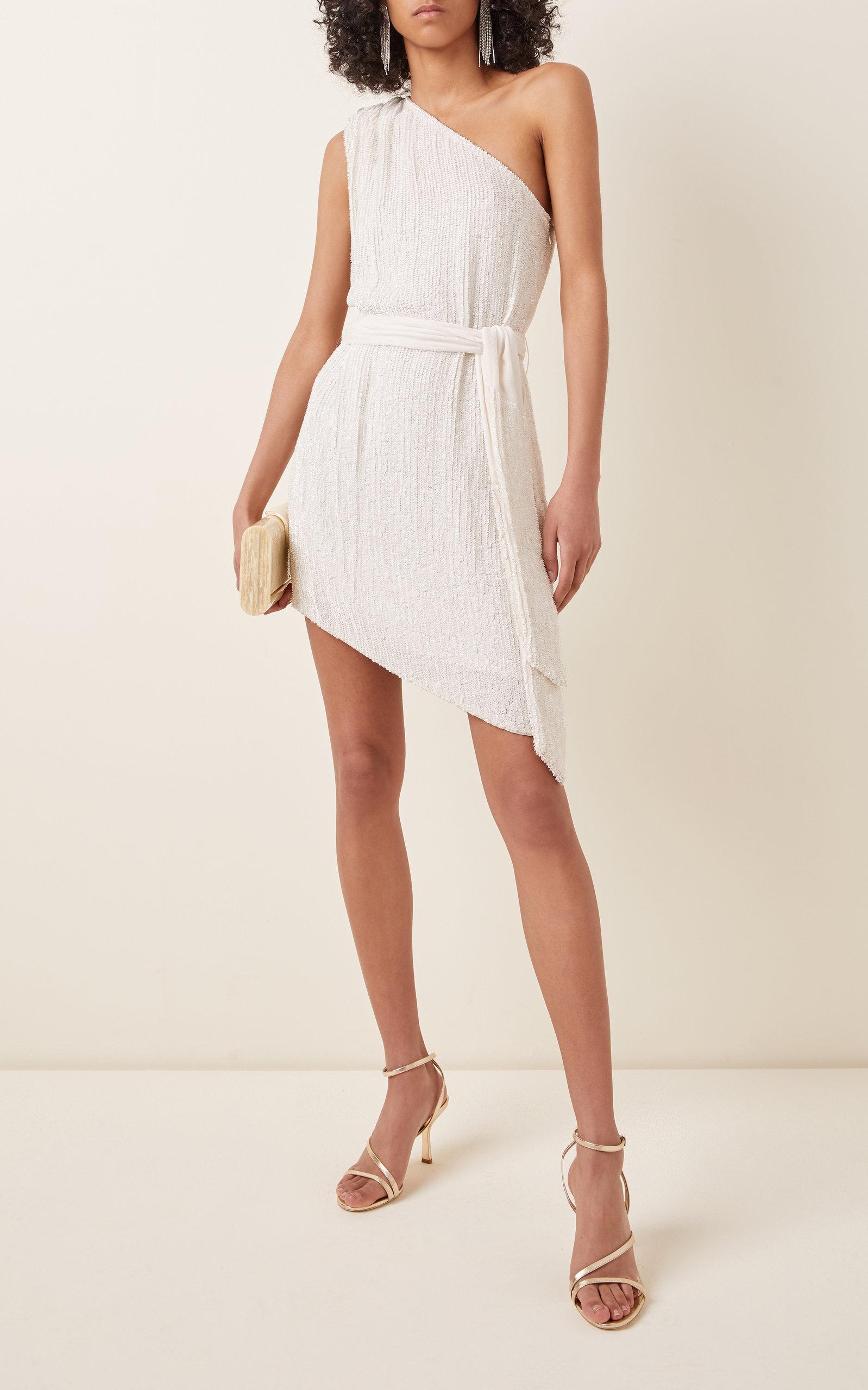 Buy Retrofête Ella Belted Sequined-Chiffon One-Shoulder Mini Dress online, shop Retrofête at the best price