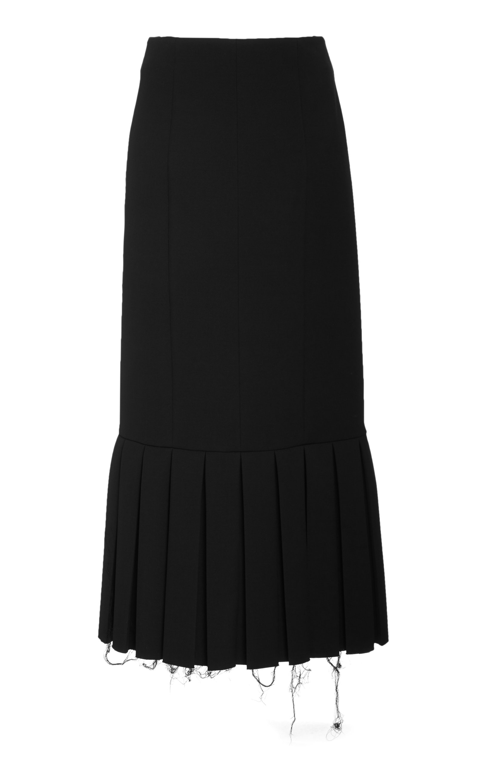 Women's Pleated Wool-Crepe Pencil Skirt
