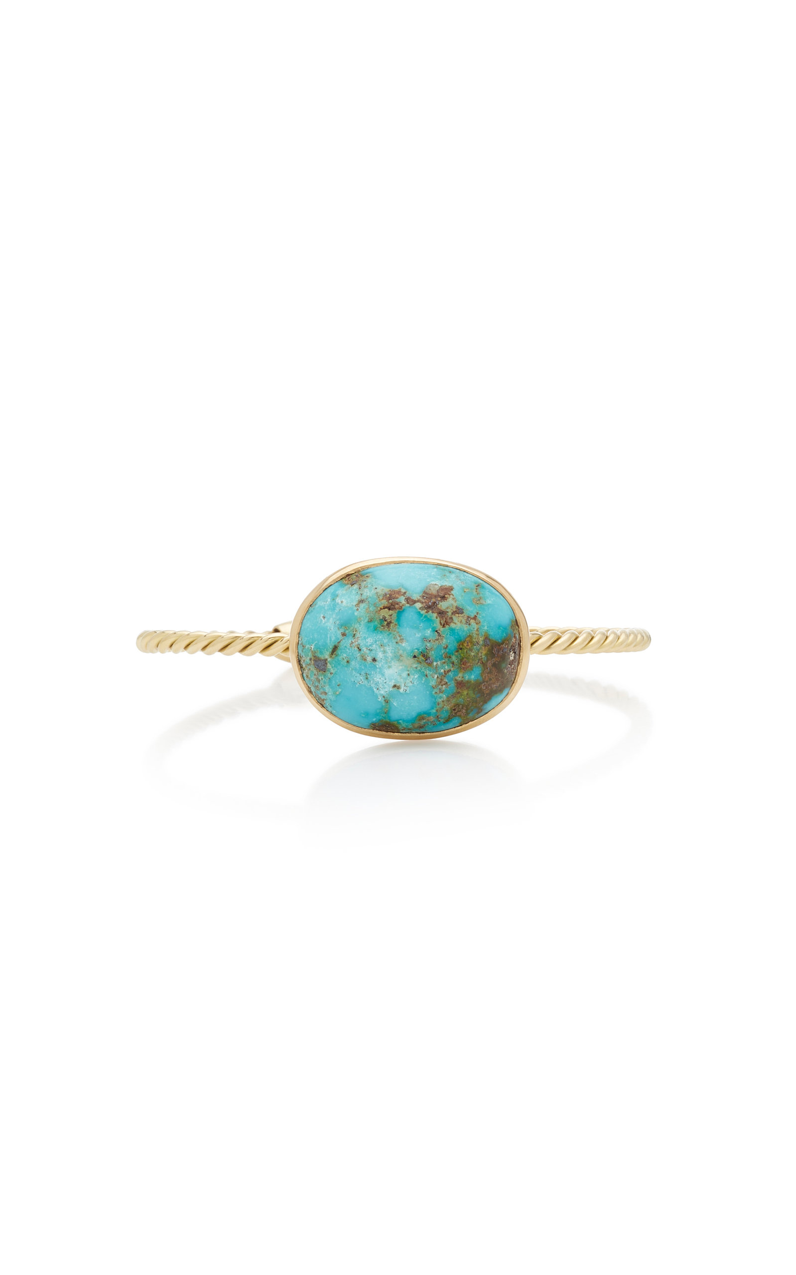 Women's Twisted 18K Yellow-Gold and Turquoise Cuff
