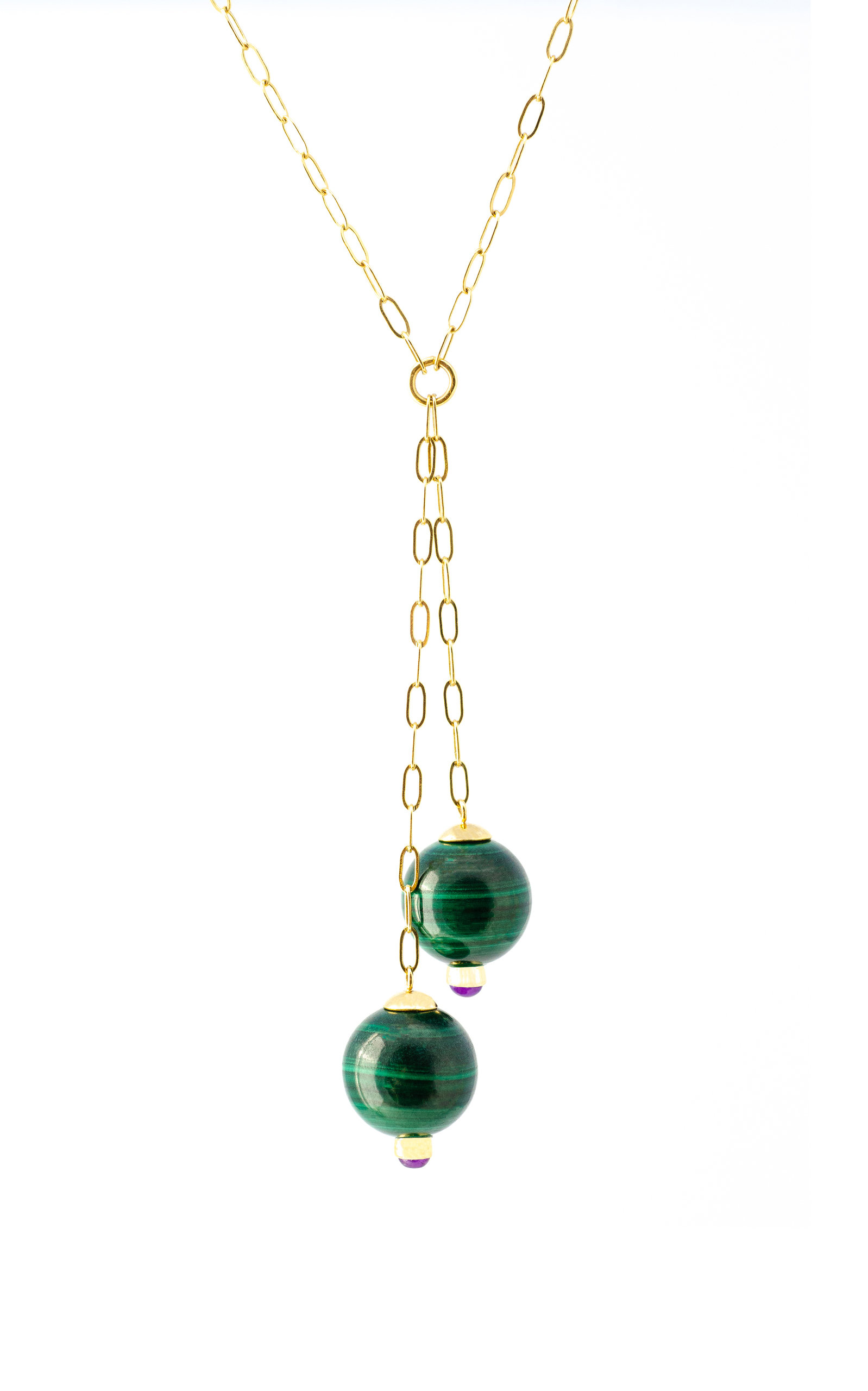 Women's 18K Gold; Malachite And Amethyst Necklace