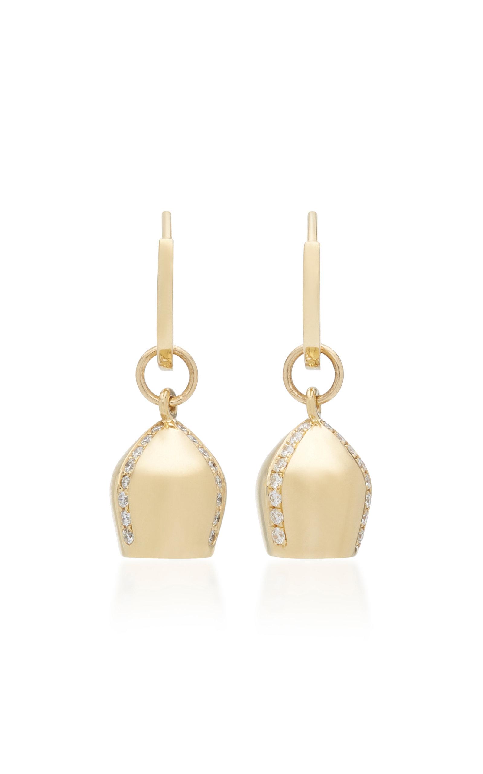Women's 18K Gold & Diamond Lune Charm Hoop Earrings