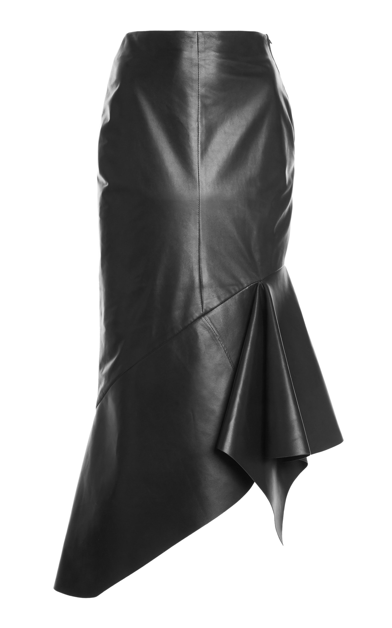Tom Ford Leathers ASYMMETRIC LEATHER MIDI SKIRT
