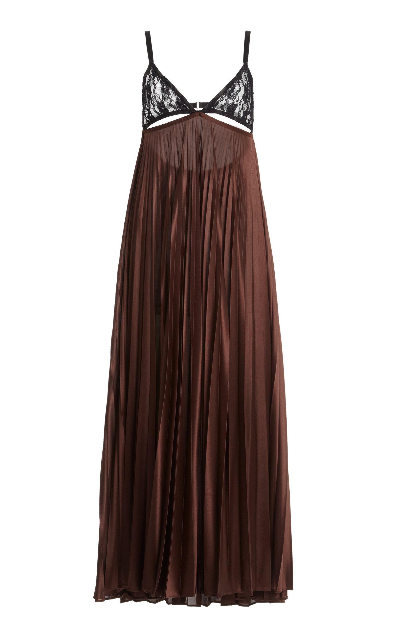 Christopher Kane LACE-PANELLED PLEATED SATIN JERSEY SLIP DRESS