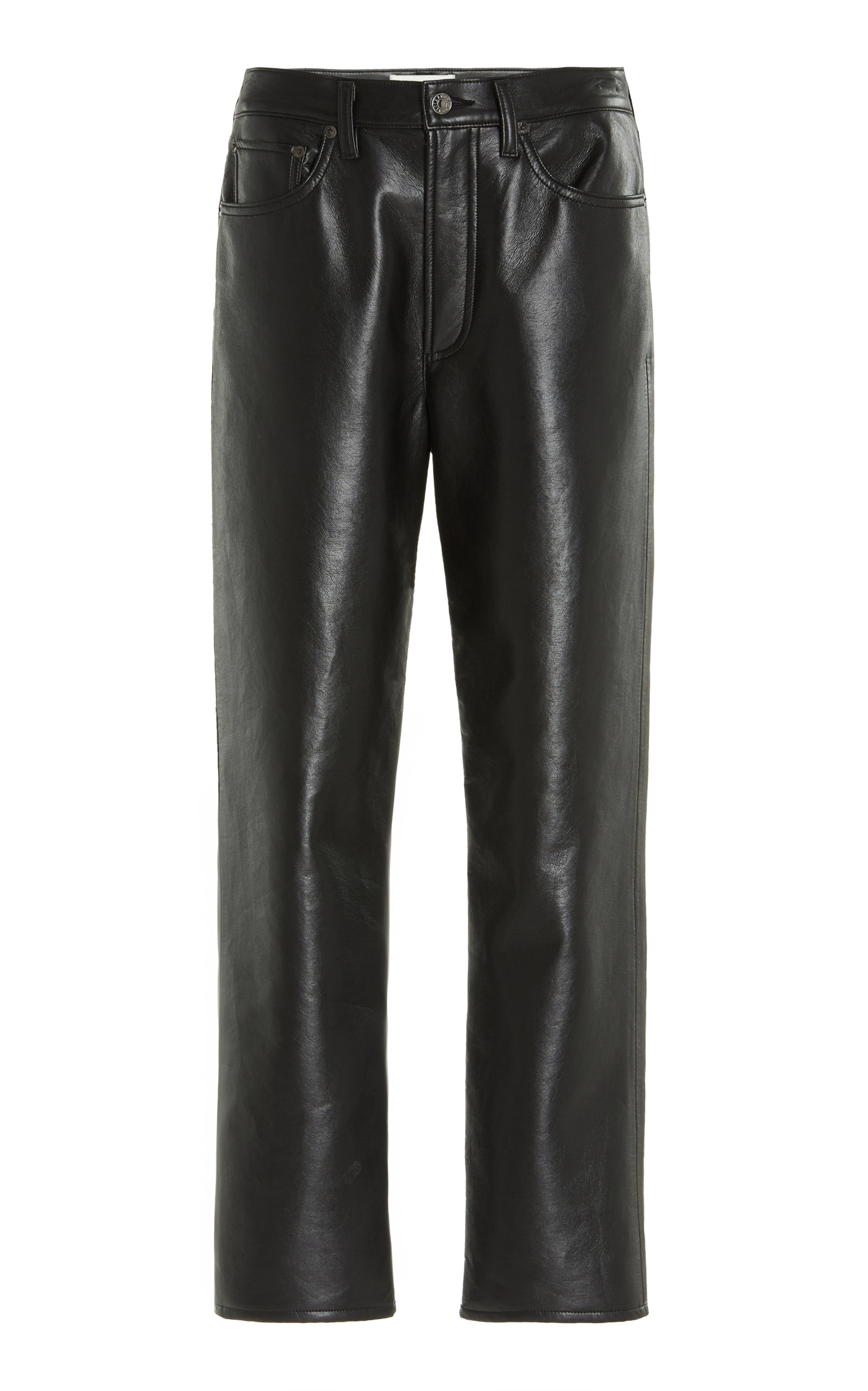 Agolde - Women's 90's High-Rise Recycled Leather Straight-Leg Pants - Black/green - Moda Operandi