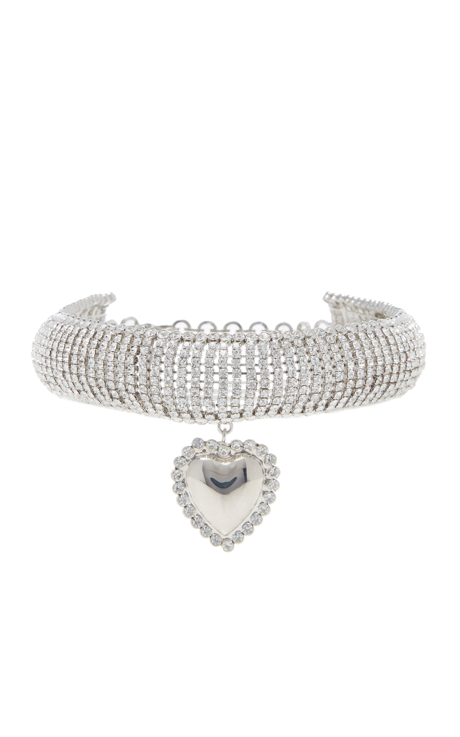 Alessandra Rich SILVER-TONE AND CRYSTAL CHOKER