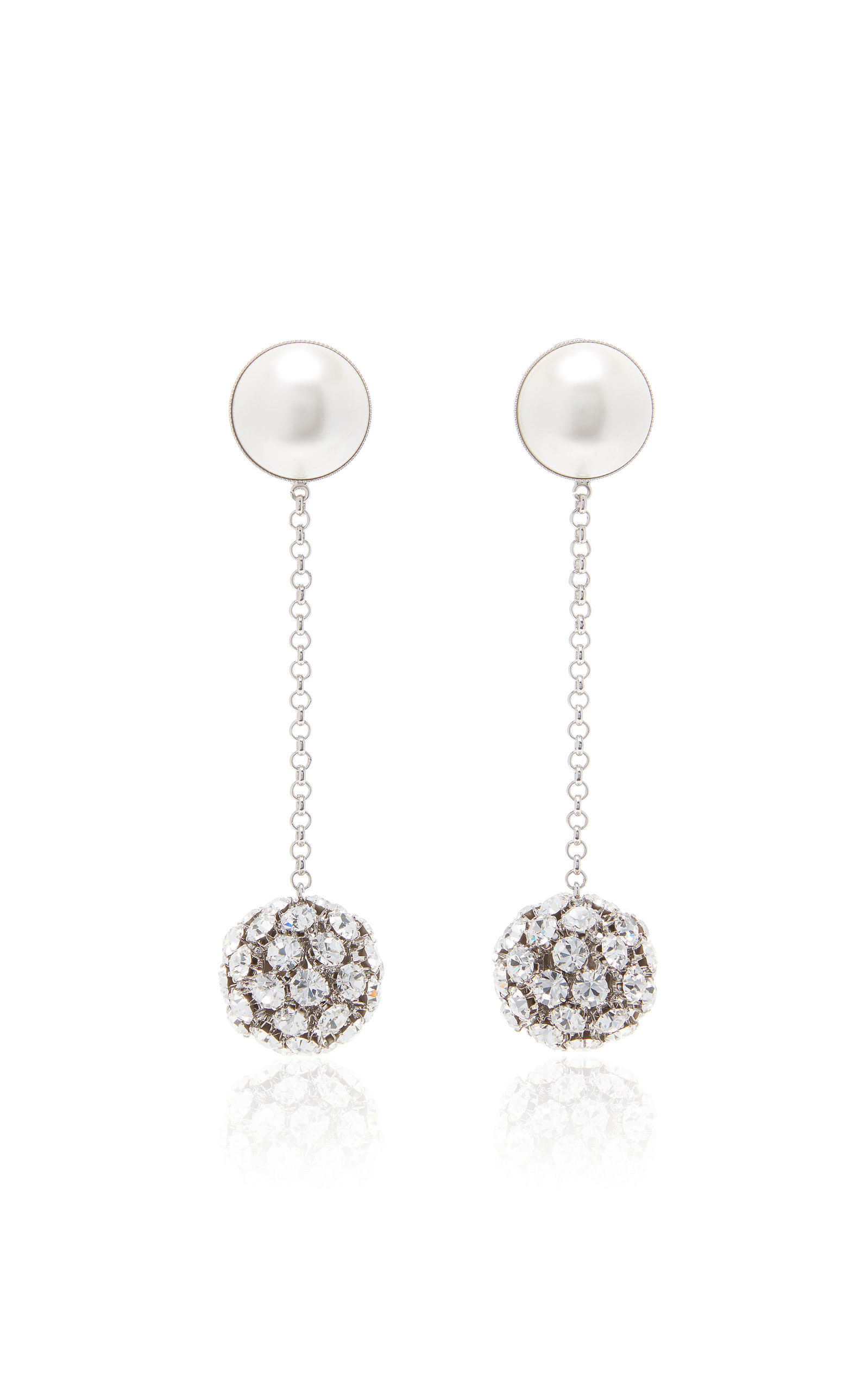 Alessandra Rich SILVER-TONE AND CRYSTAL CLIP EARRINGS