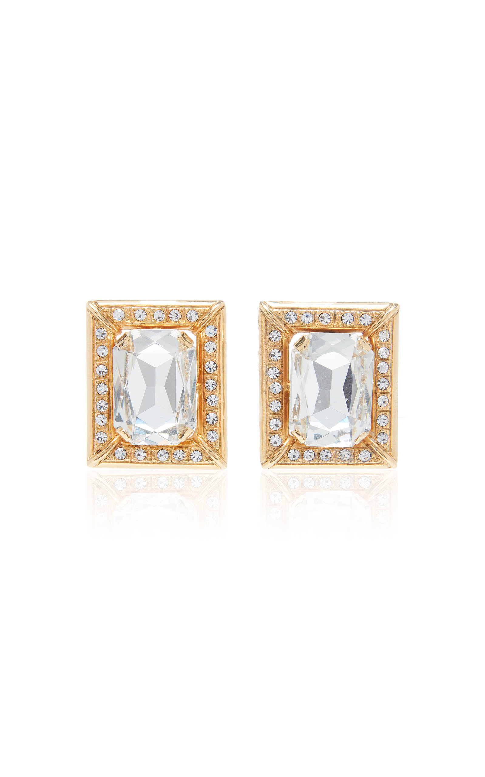 Alessandra Rich CRYSTAL-EMBELLISHED GOLD-TONE CLIP-ON EARRINGS