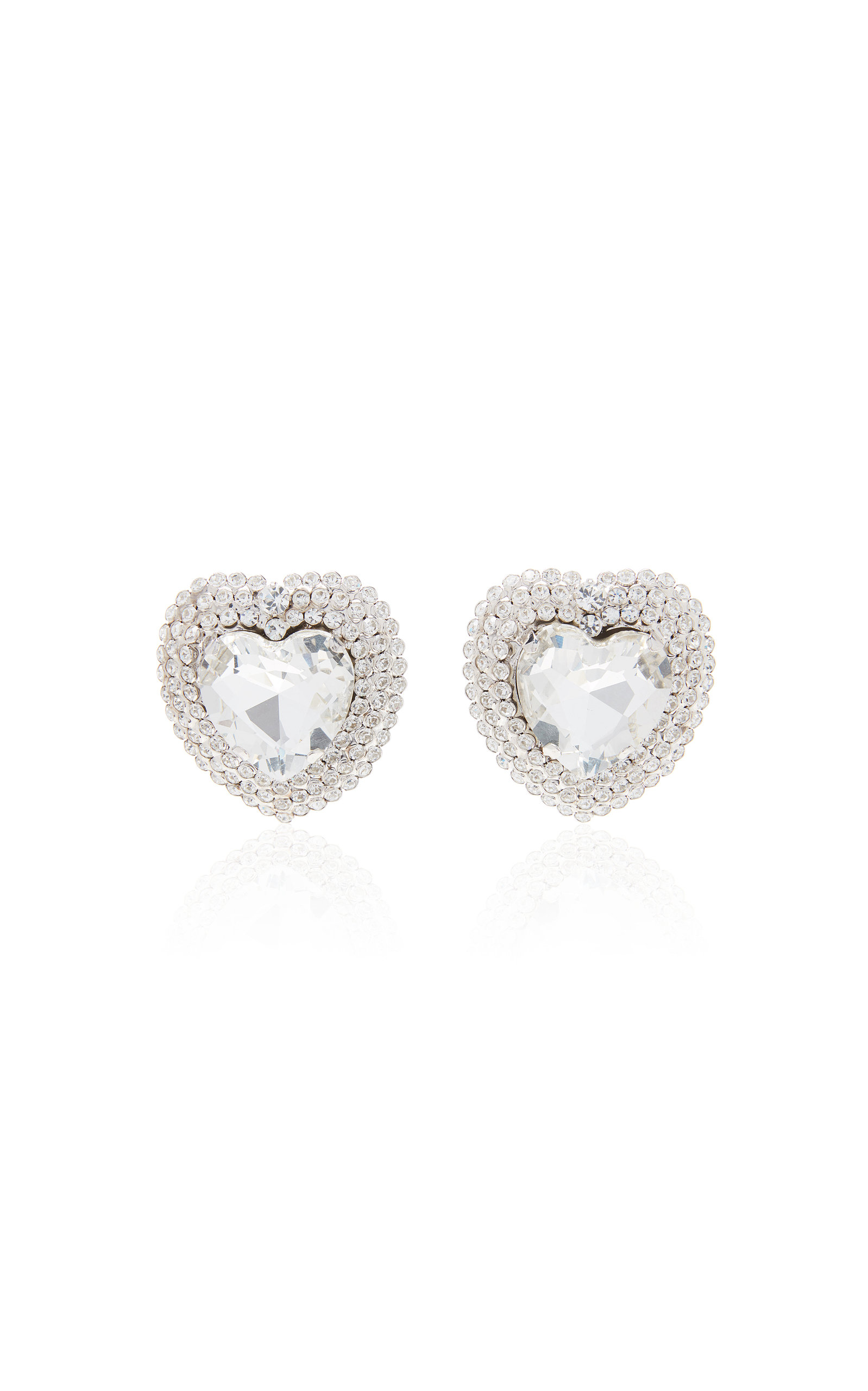 Alessandra Rich HEART CRYSTAL-EMBELLISHED SILVER-TONE CLIP-ON EARRINGS