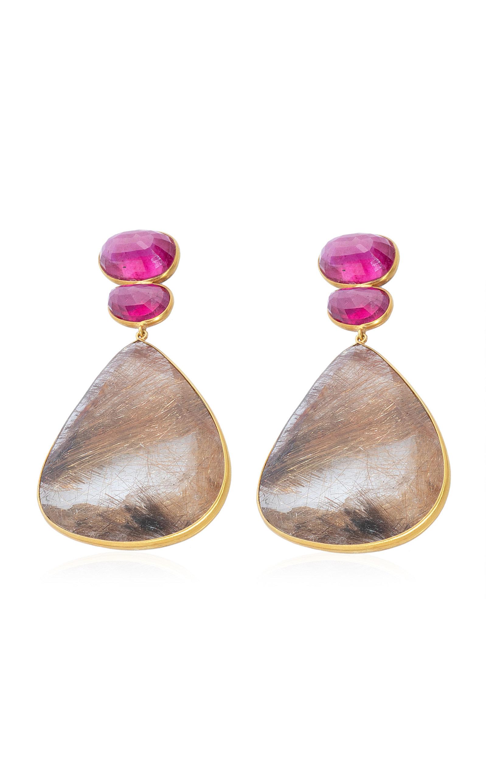 Women's Ruby; Quartz 18K Yellow Gold Earrings