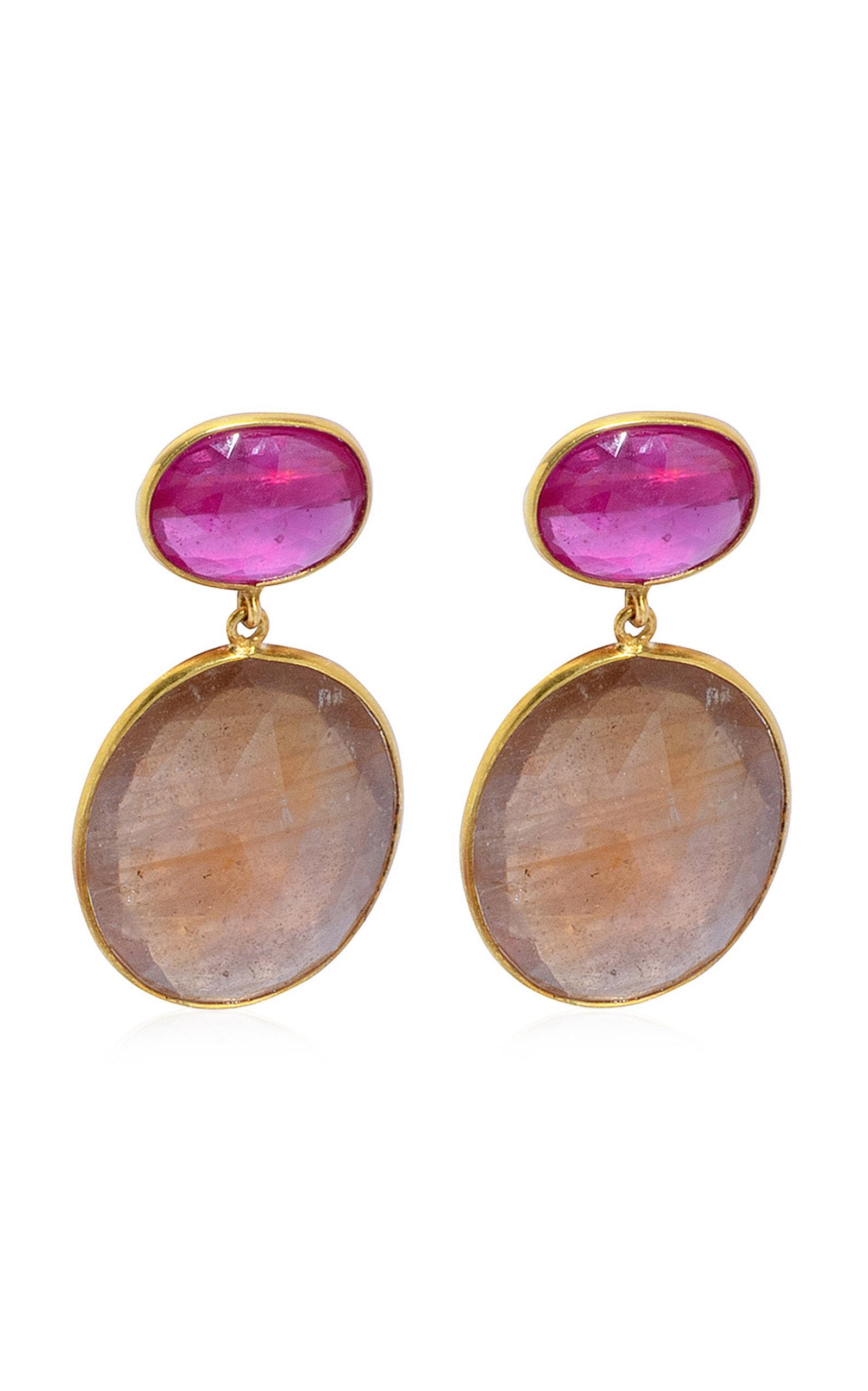 Women's Ruby; Sapphire 18K Yellow Gold Earrings
