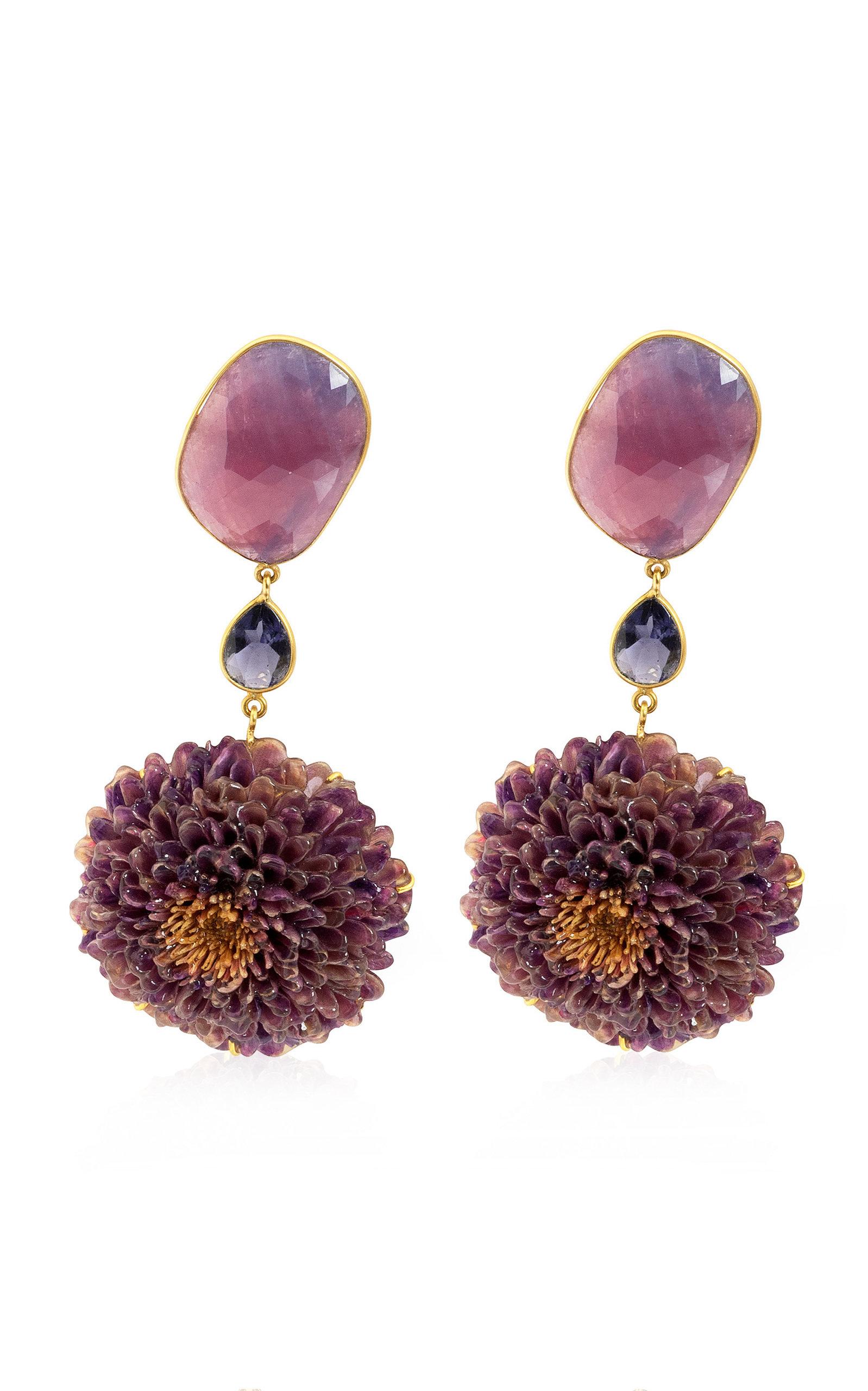Women's Real Dahlia; Sapphire; Iolite 18K Yellow Gold Earrings