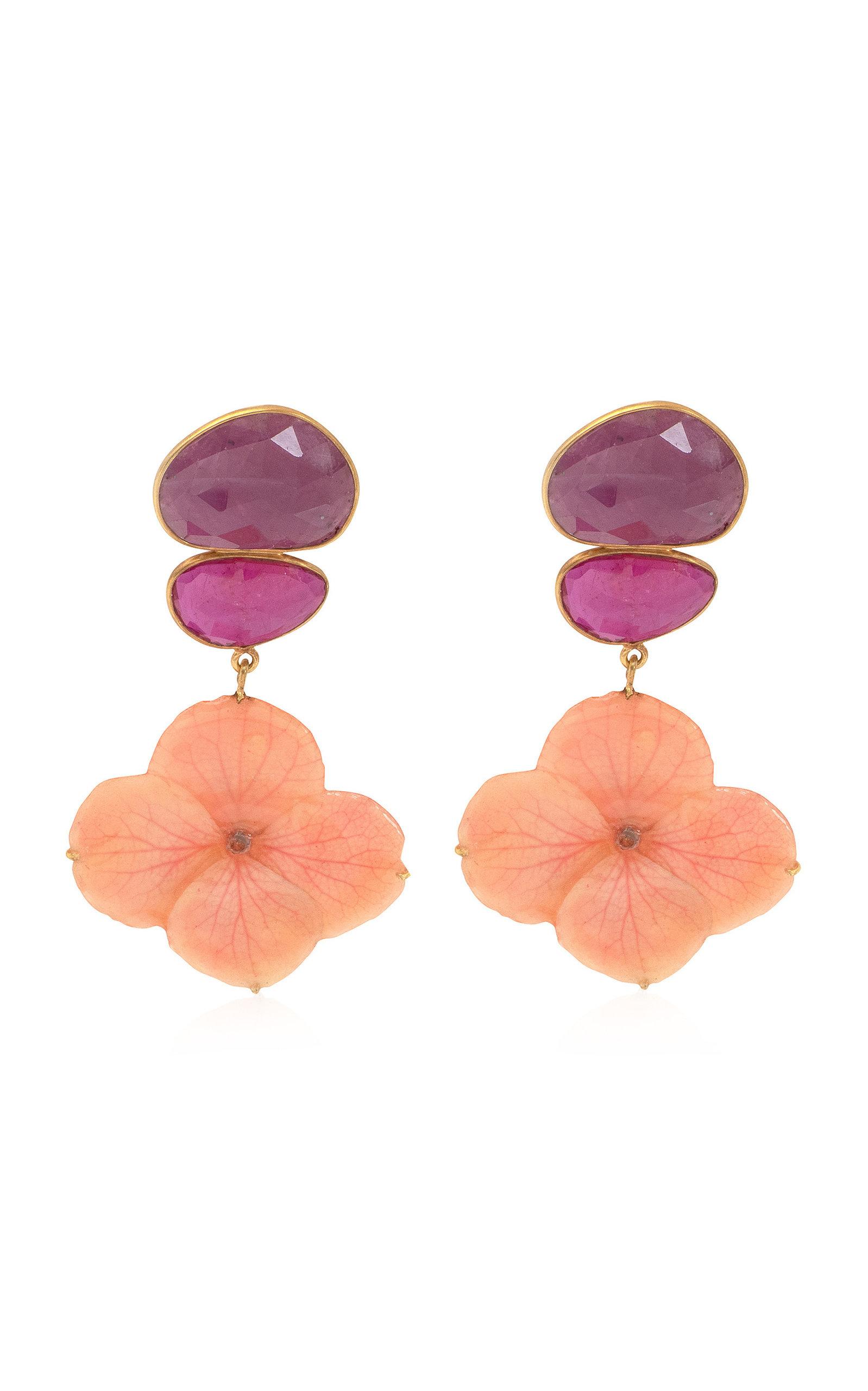 Women's Real Hydrangea; Ruby 18K Yellow Gold Earrings