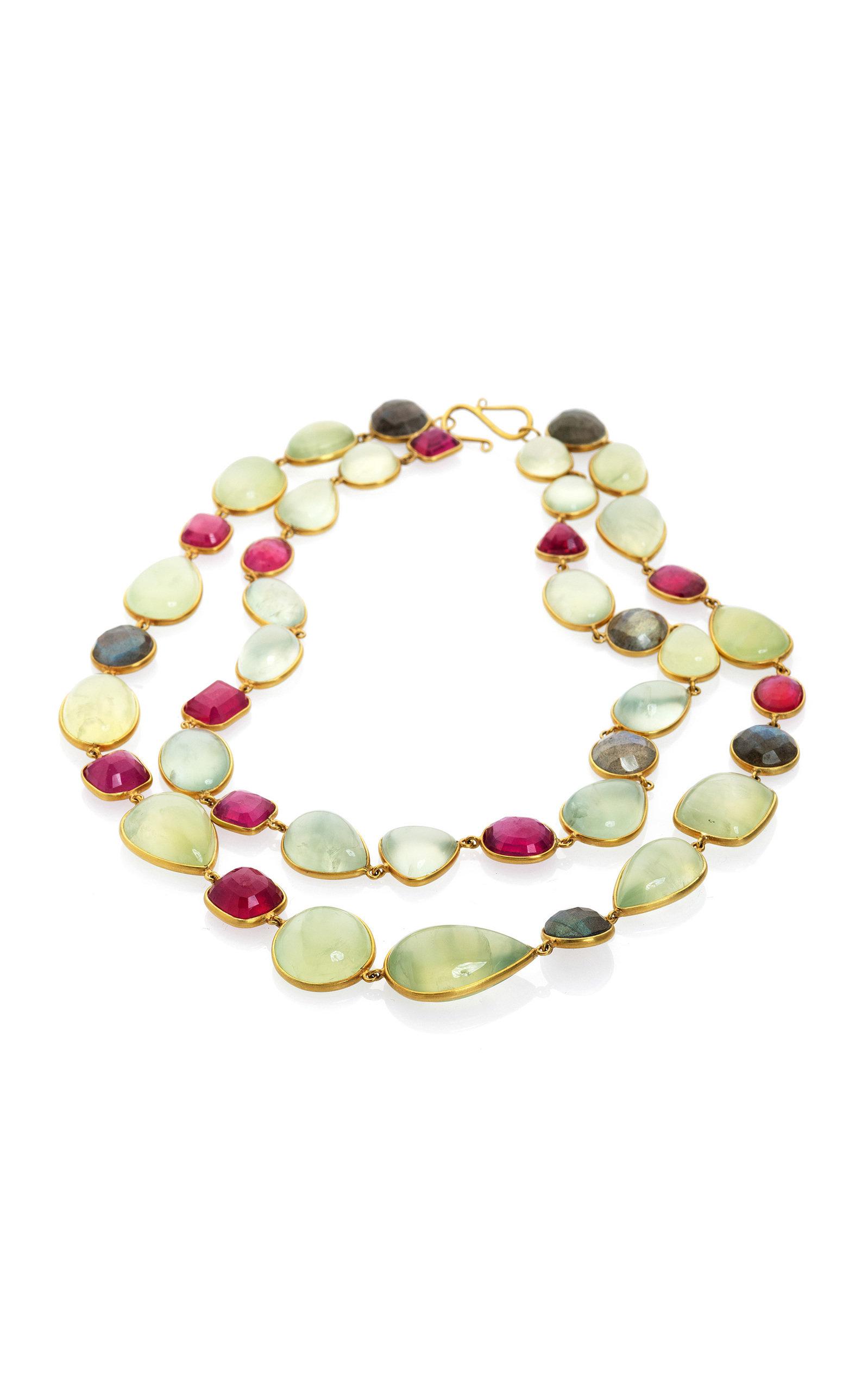 Women's Ruby; Labradorite; Praynite 18K Yellow Gold Necklace