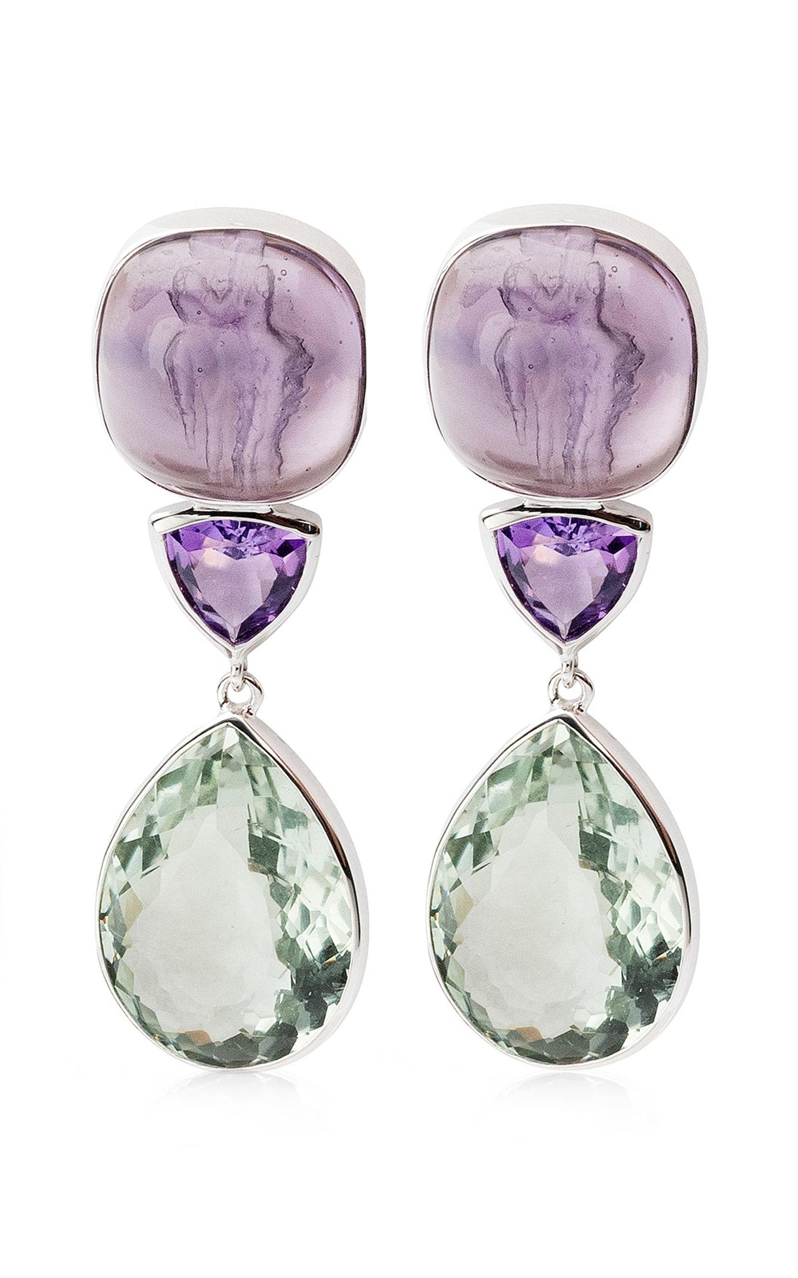 Women's Amethyst; Venetian Glass Cameo 18K White Gold Earrings