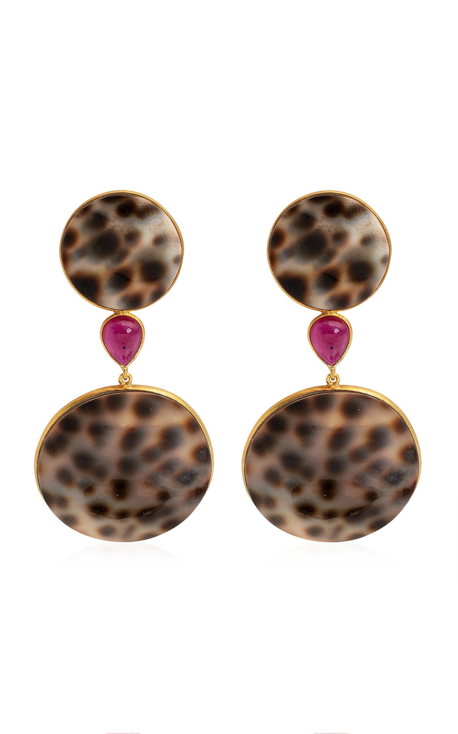 Women's Shell; Ruby 18K Yellow Gold Earrings