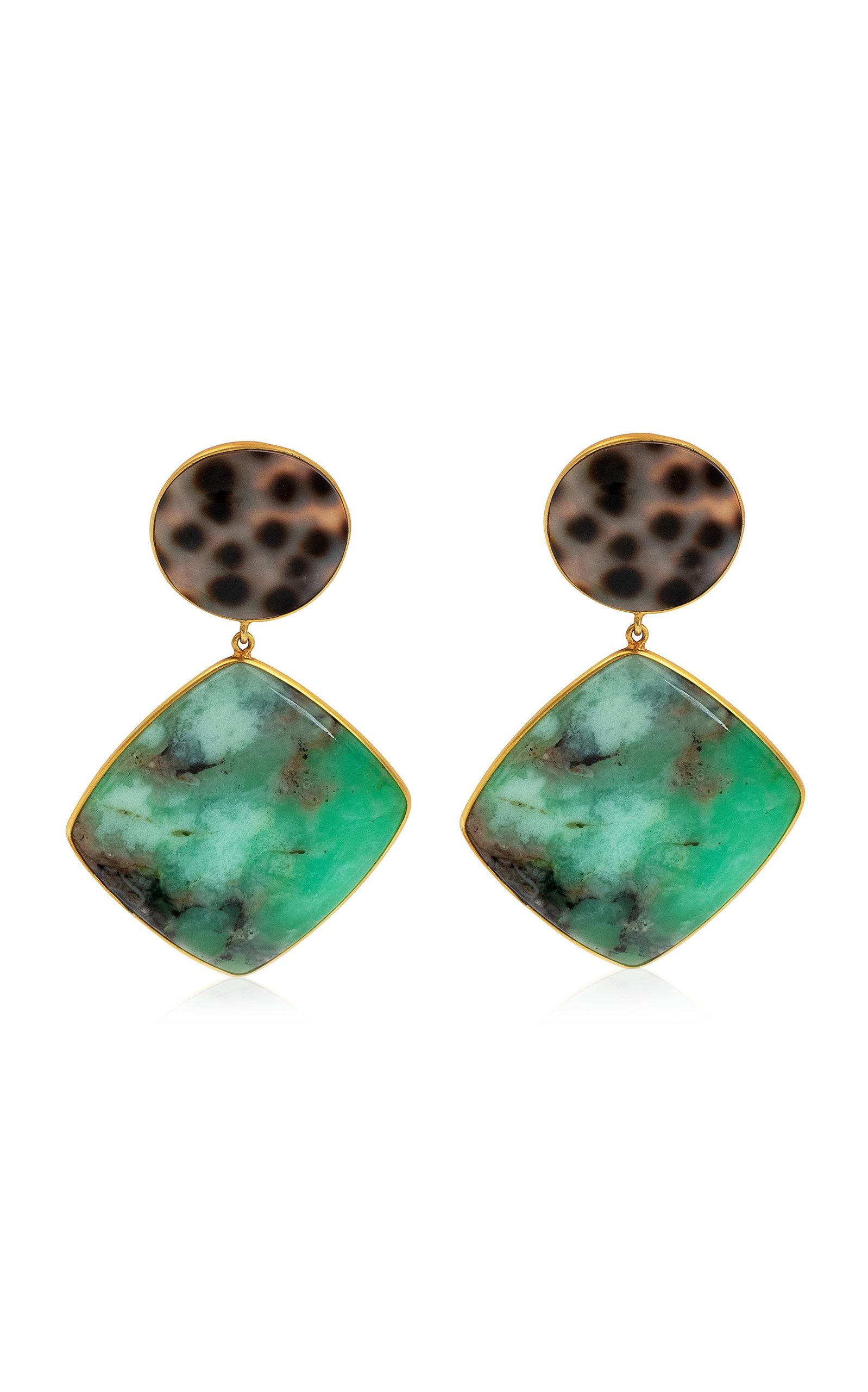 Women's Chrysoprase; Shell 18K Yellow Gold Earrings