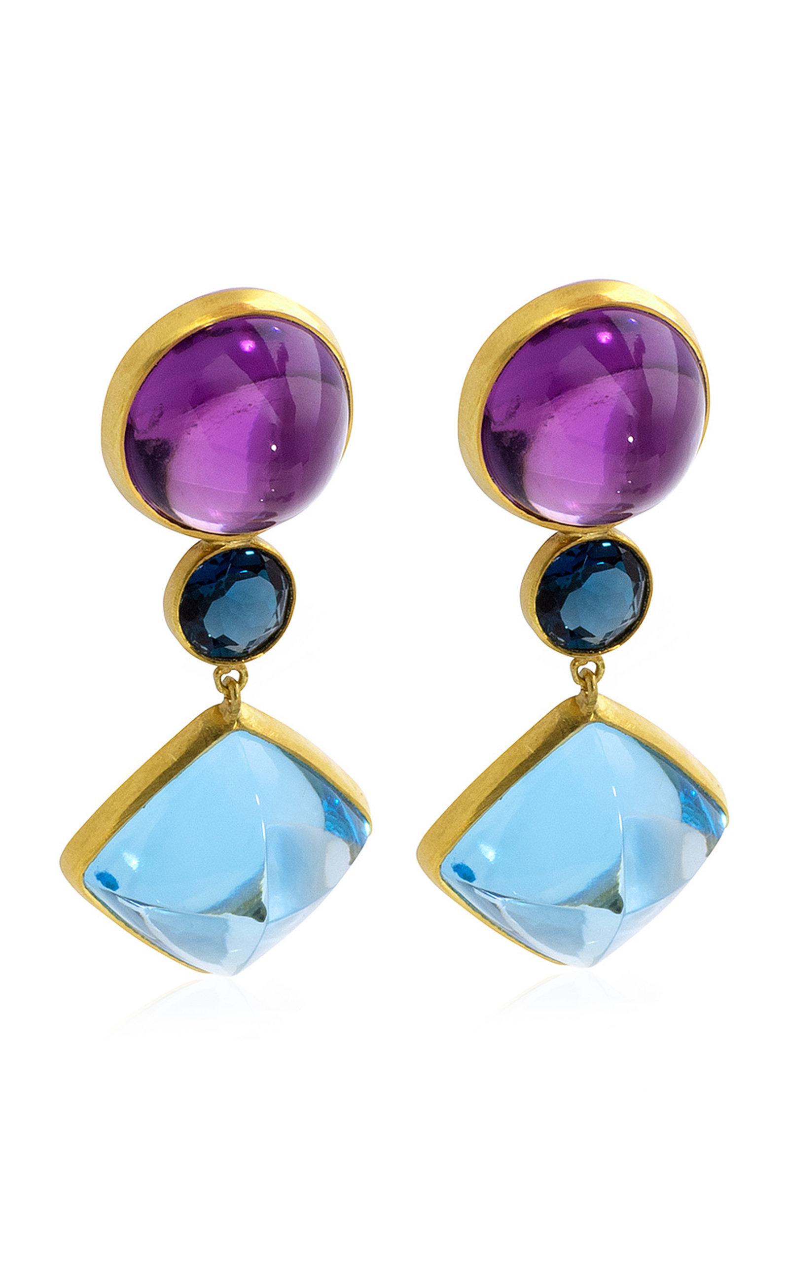 Women's Amethyst; Topaz 18K Yellow Gold Earrings