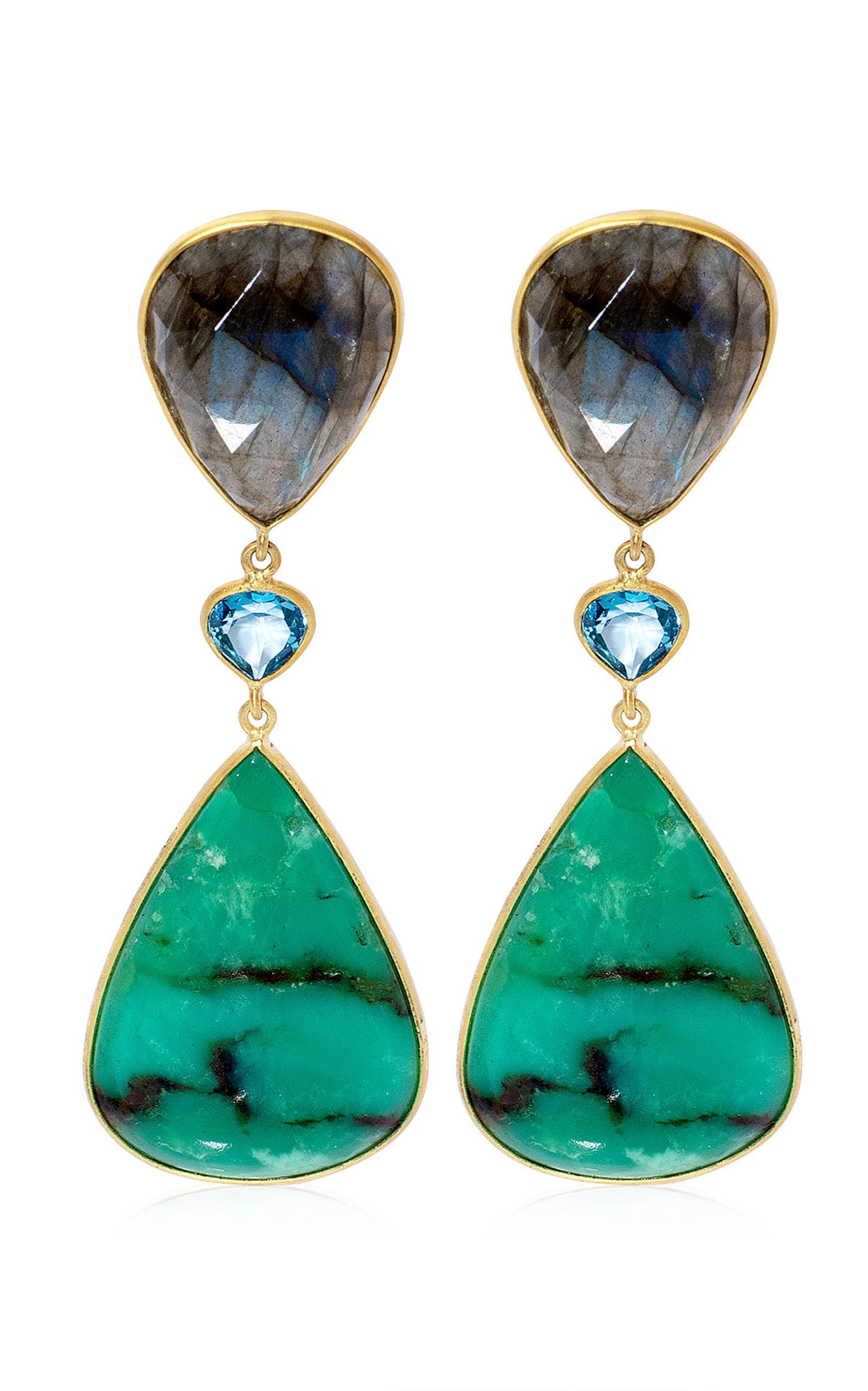 Women's Chrysoprase; Topaz; Labradorite 18K Yellow Gold Earrings