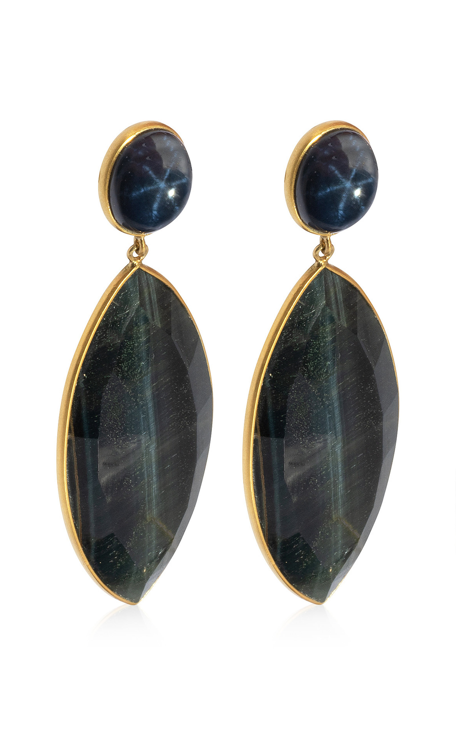 Women's Sapphire; Tiger's Eye 18K Yellow Gold Earrings