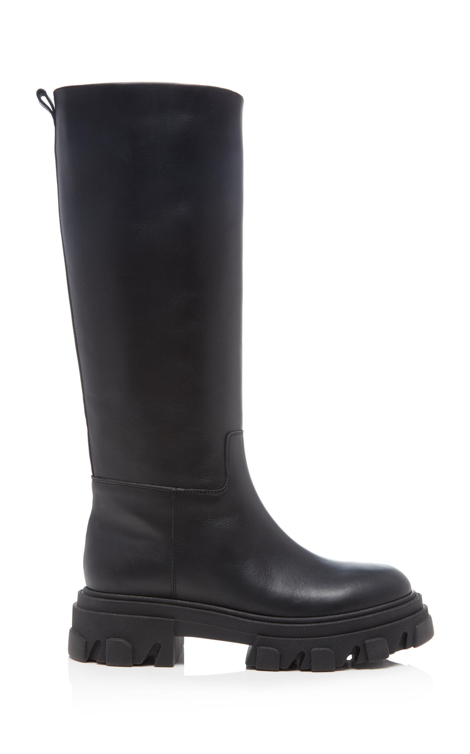 Women's Tubular Leather Knee Boots