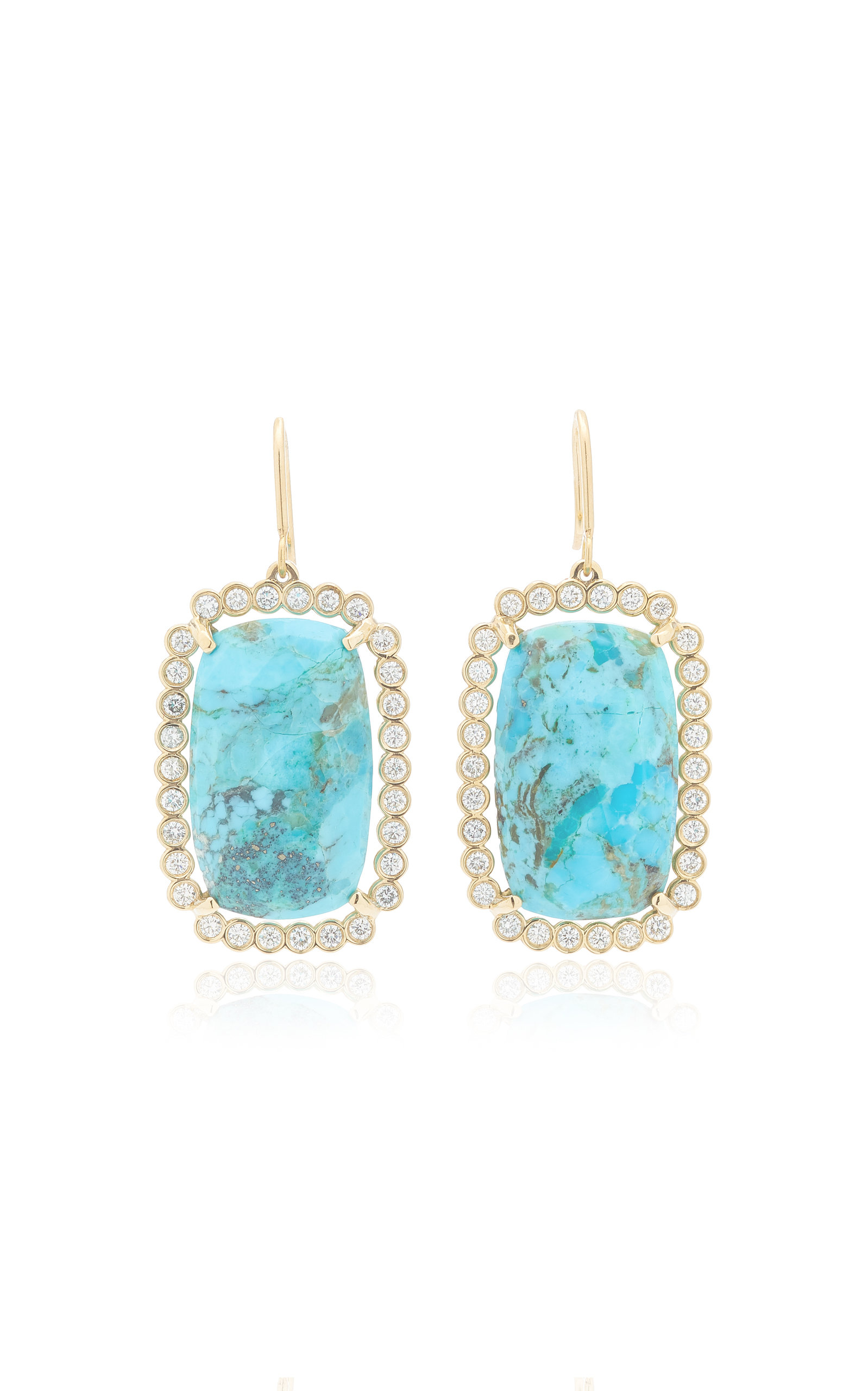 Women's Halo 14K Yellow Gold Turquoise and Diamond Earrings