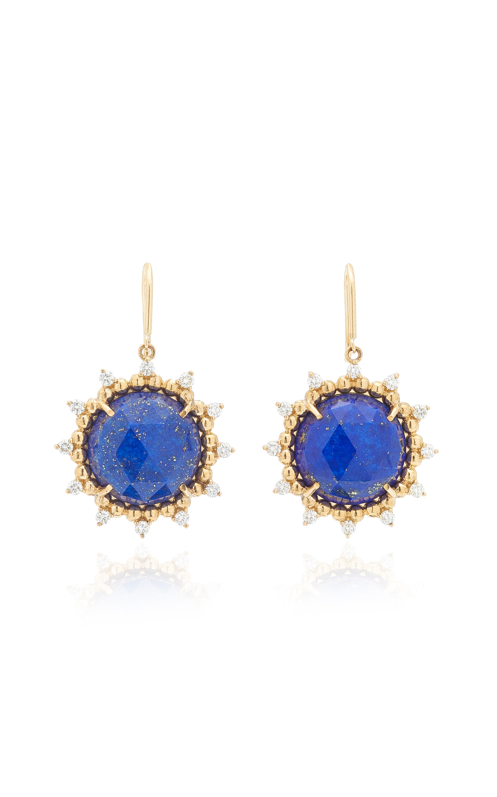Women's Sunburst 14K Yellow Gold Lapis and Diamond Earrings