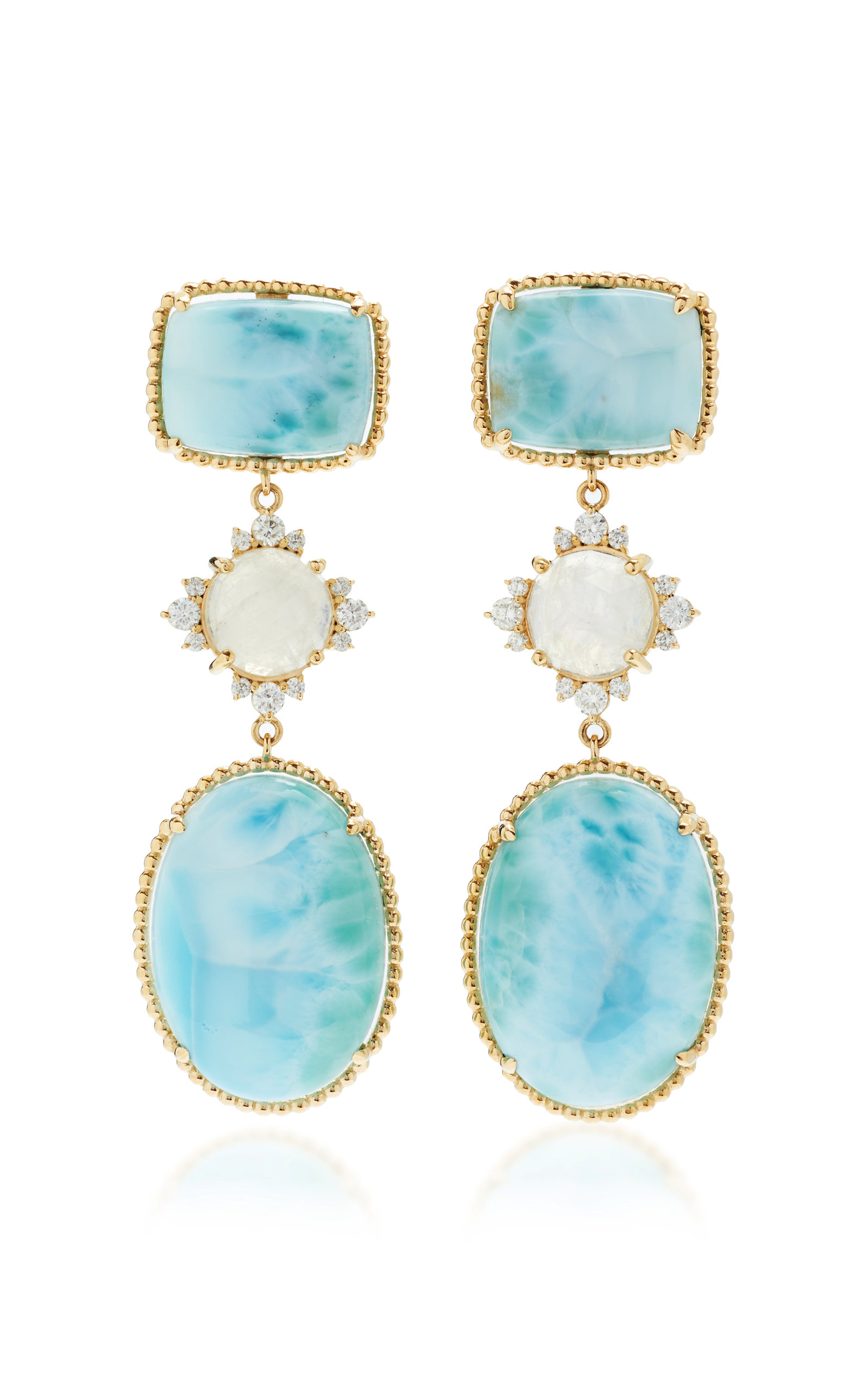 Women's 14K Yellow Gold Larimar; Moonstone and Diamond Earrings
