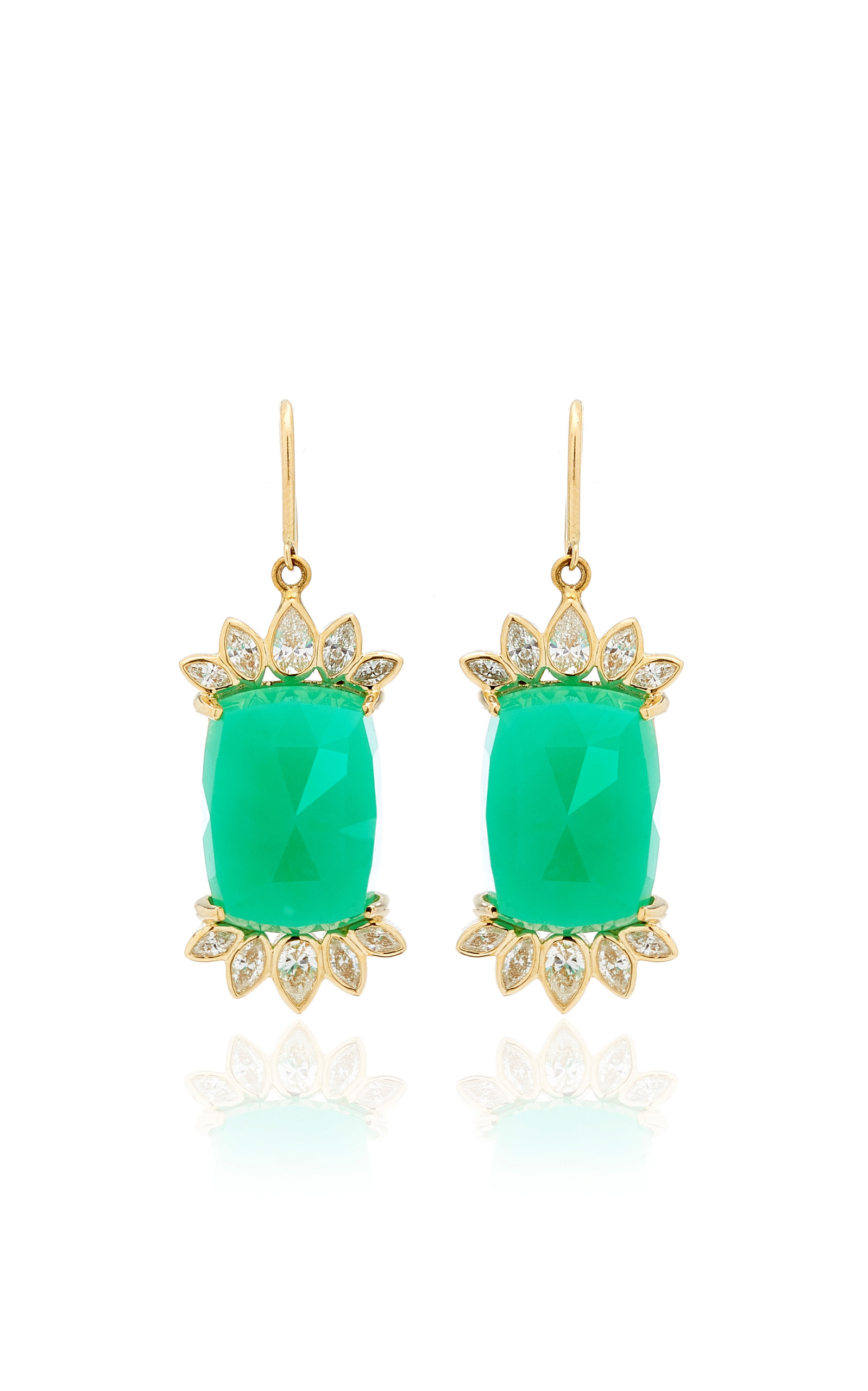 Women's Fringe 14K Yellow Gold Chrysoprase and Diamond Earrings